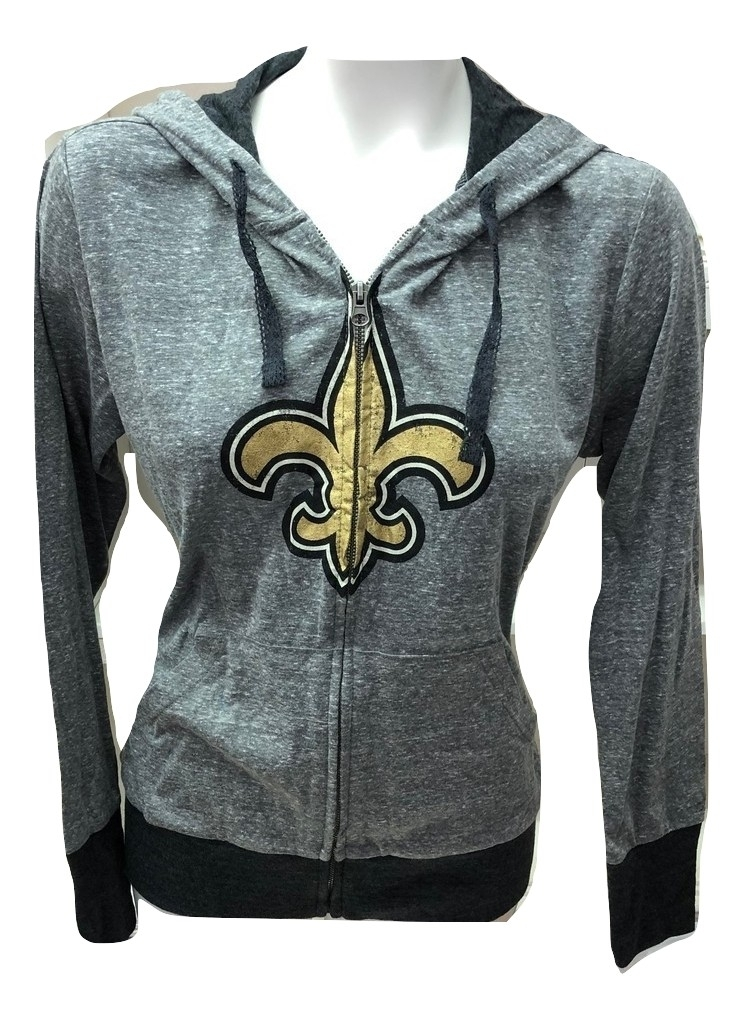 dcb79d0c0 New Orleans Saints Women's Heathered Charcoal Full Zip Hoodie - XL ...