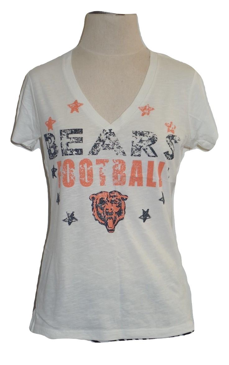 f2ab90f31 Chicago Bears Women's Burnout Cream V neck T-Shirt | eBay
