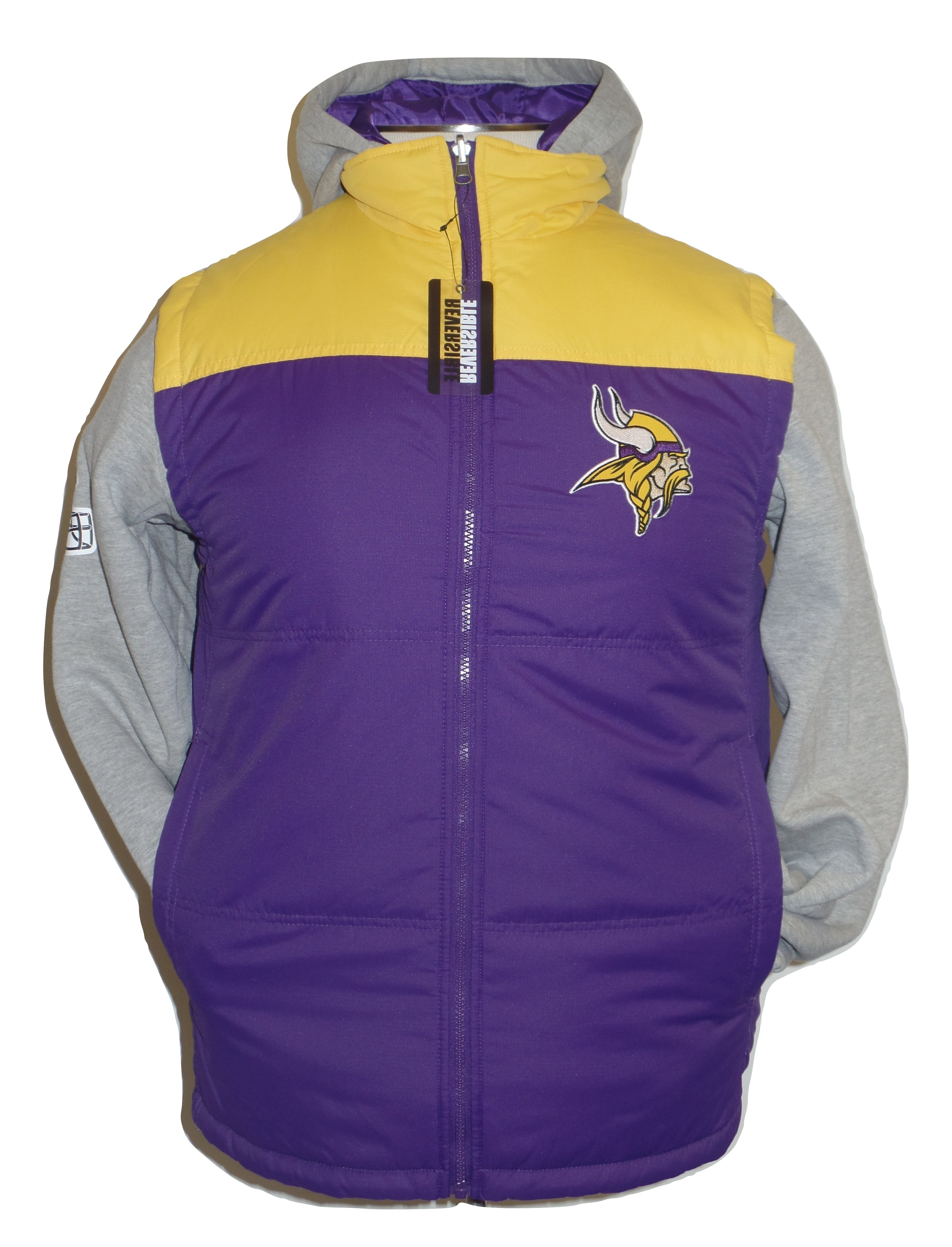 Discount Minnesota Vikings 5 in 1 Reversible Vest and Hoodie Combo Full Zip  free shipping