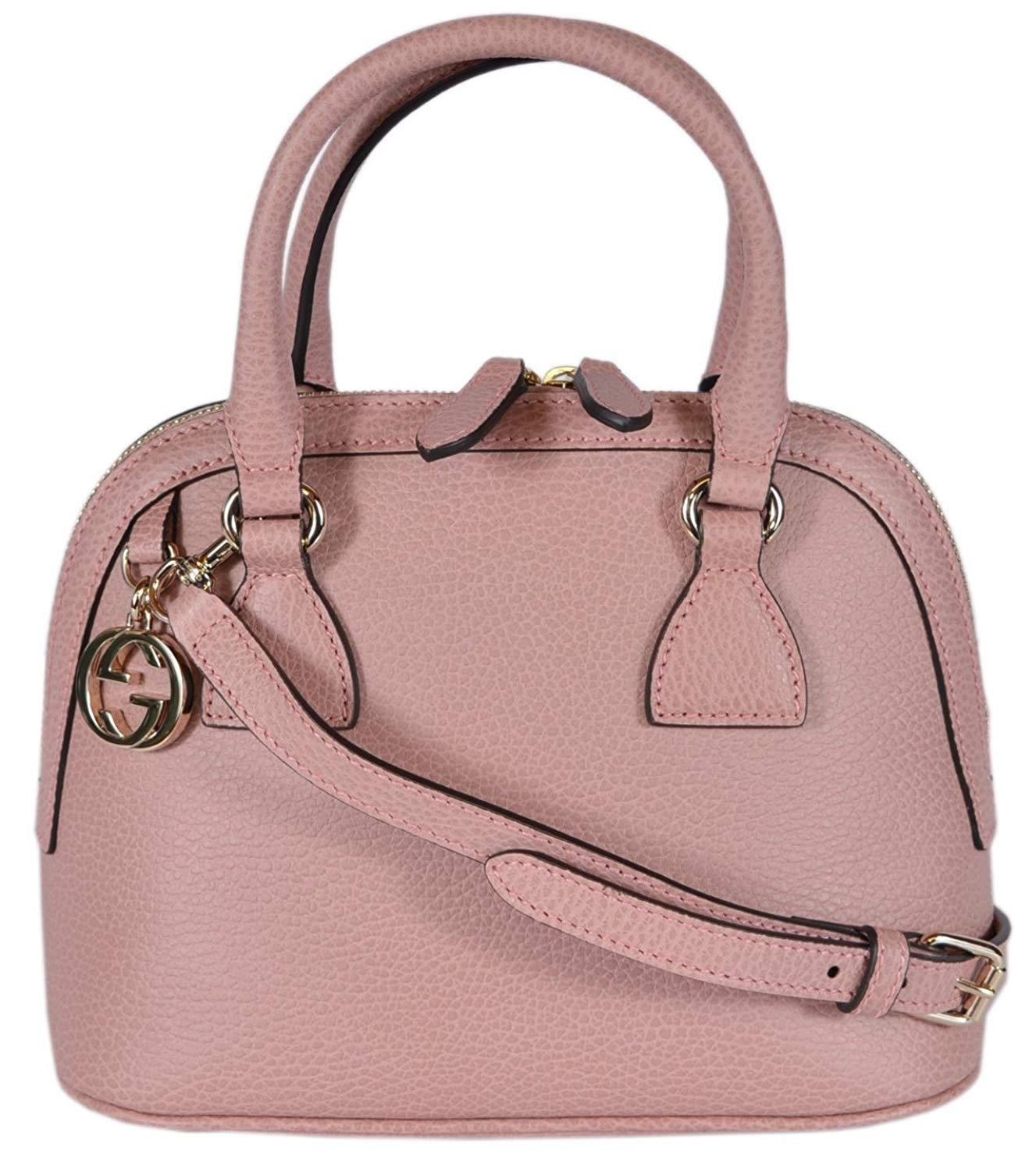 874885d1fec Gucci Women s Leather 2-Way Convertible GG Charm Small Dome Purse (Soft  Pink)