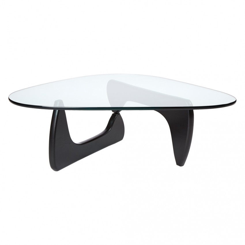 Black Solid Wood Coffee Table: Noguchi Style Triangle Coffee Table
