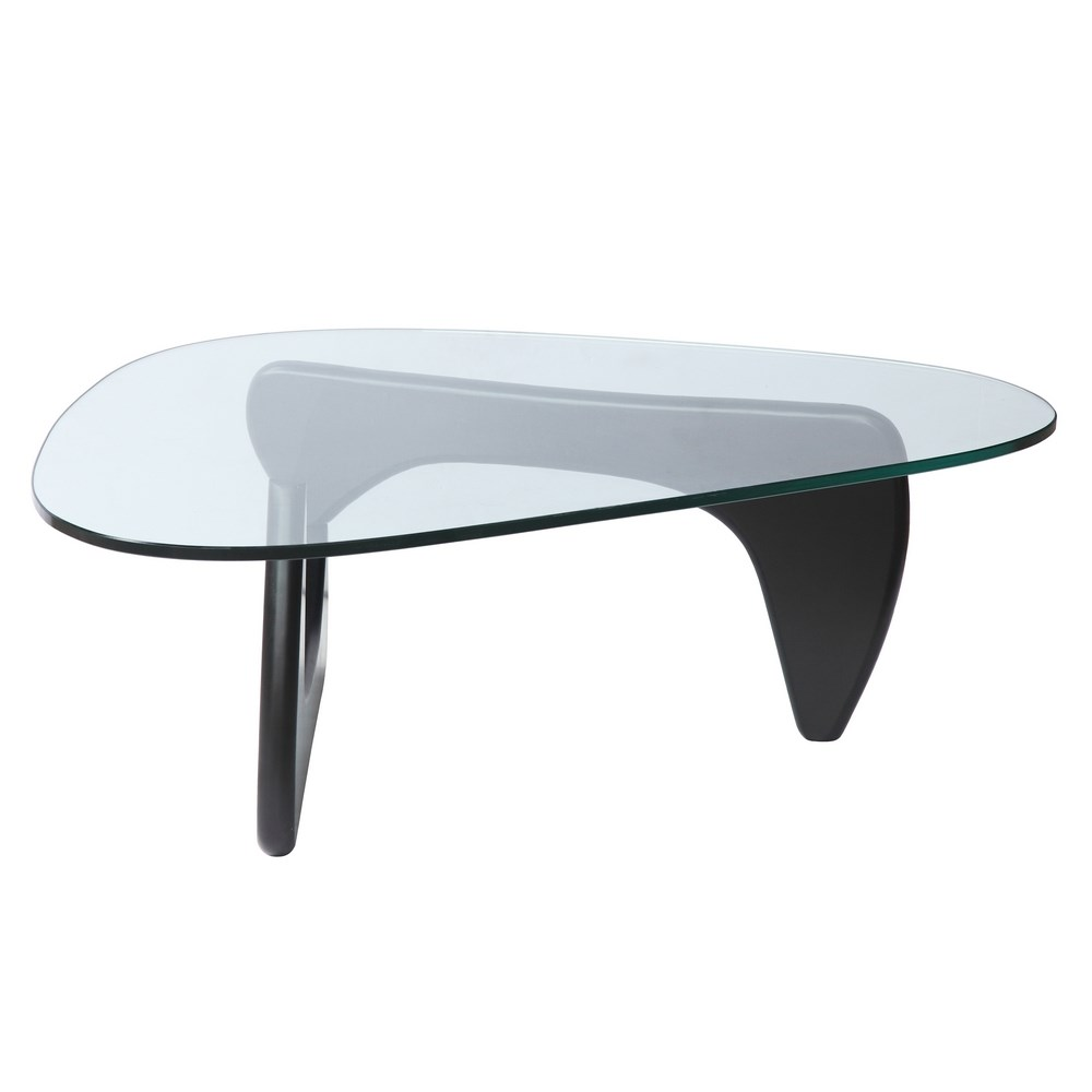 Noguchi Style Modern Classic Wood And Glass Coffee Table
