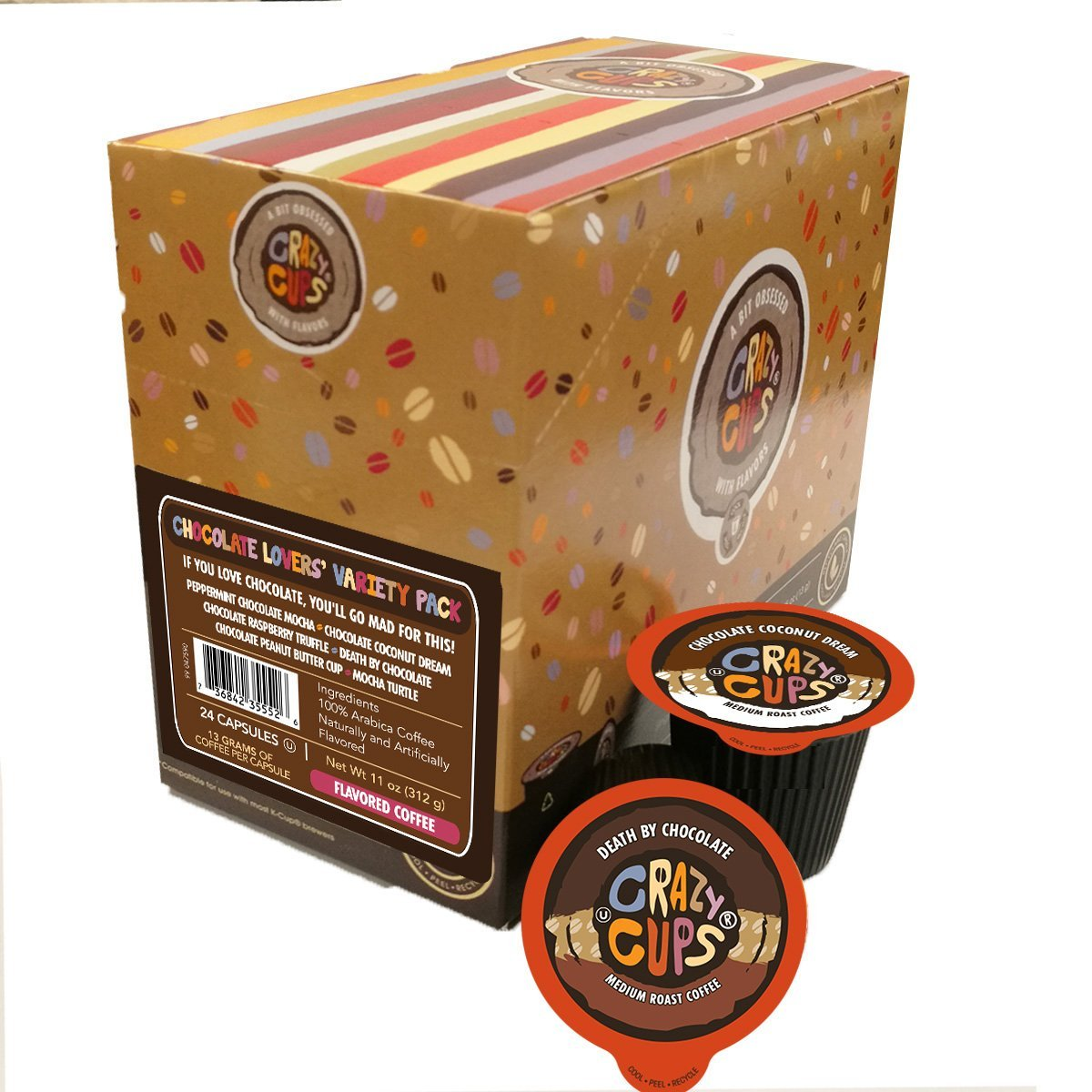 Crazy-Cups-Chocolate-Lovers-039-Flavored-Coffee-Variety-Pack-Sampler-24-ct thumbnail 5