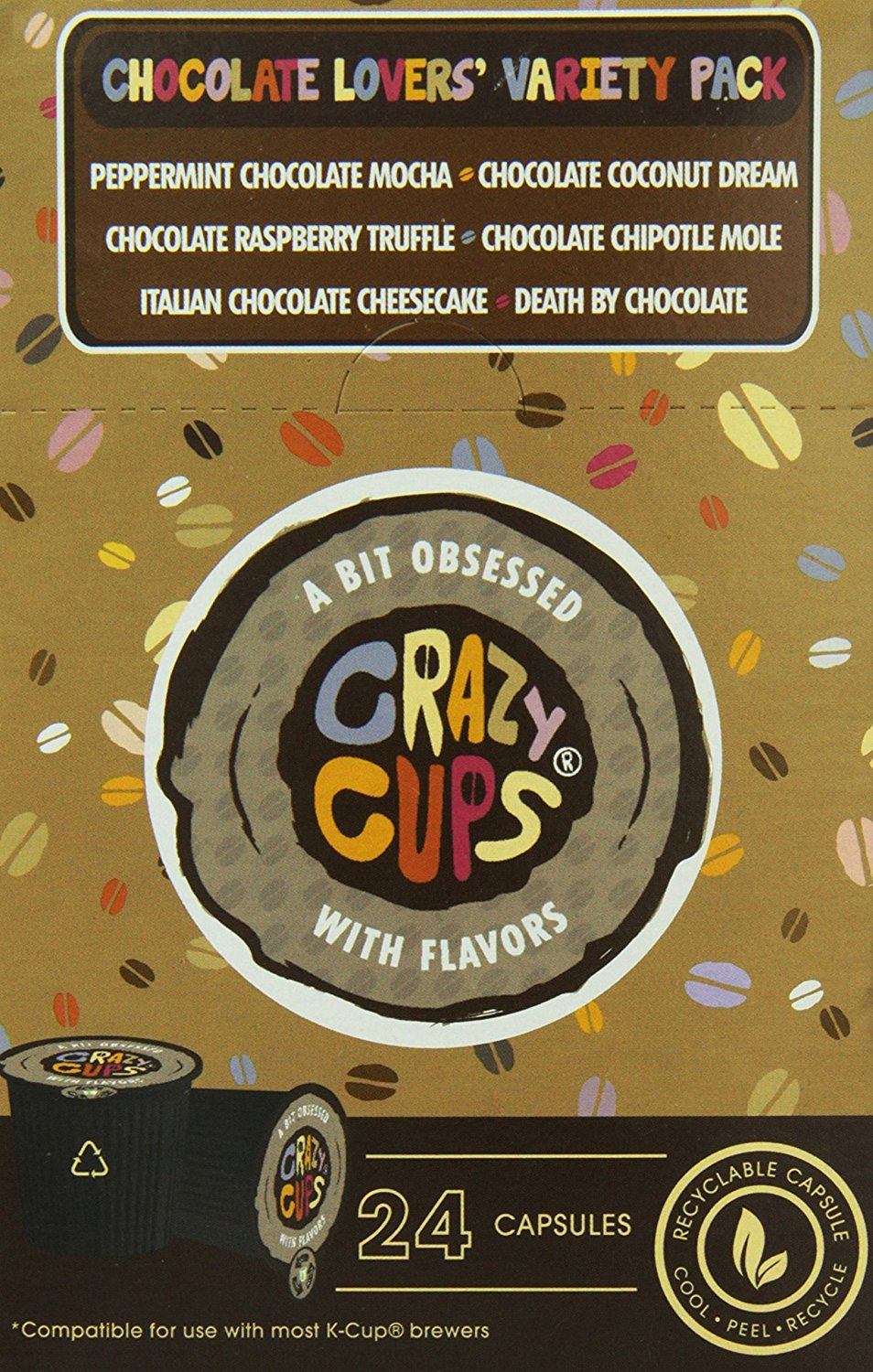 Crazy-Cups-Chocolate-Lovers-039-Flavored-Coffee-Variety-Pack-Sampler-24-ct thumbnail 6