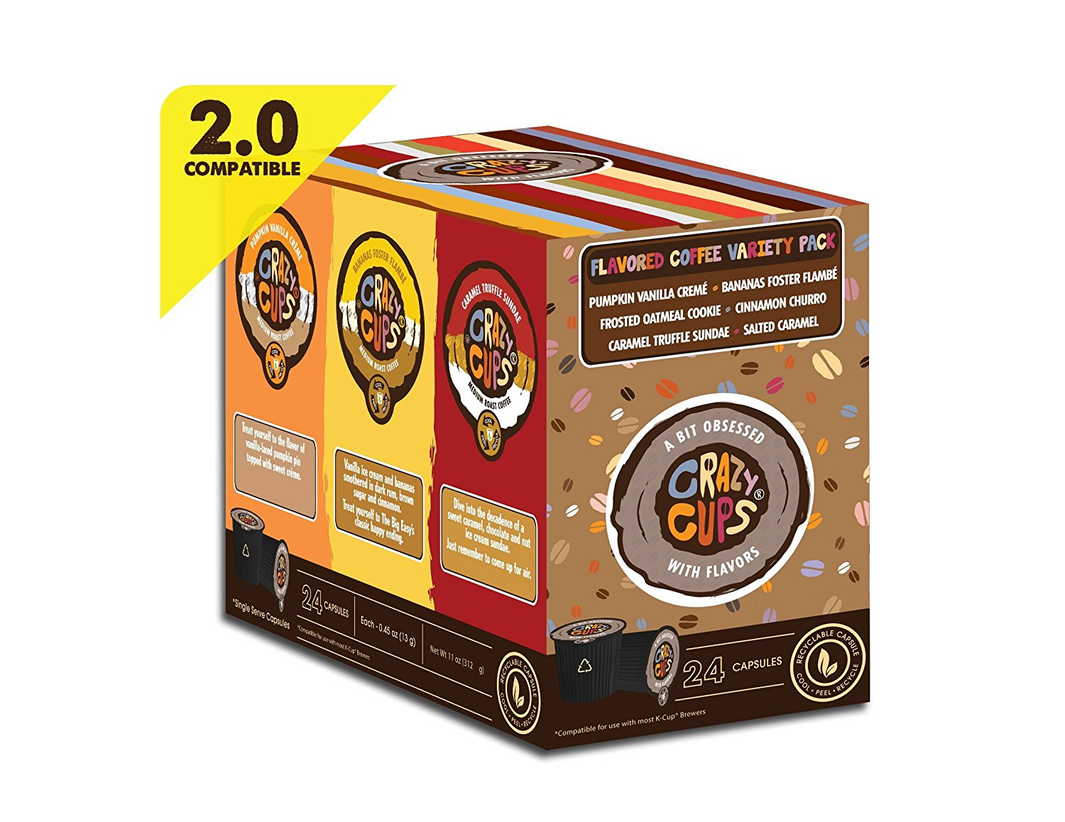 Crazy-Cups-Chocolate-Lovers-039-Flavored-Coffee-Variety-Pack-Sampler-24-ct thumbnail 9
