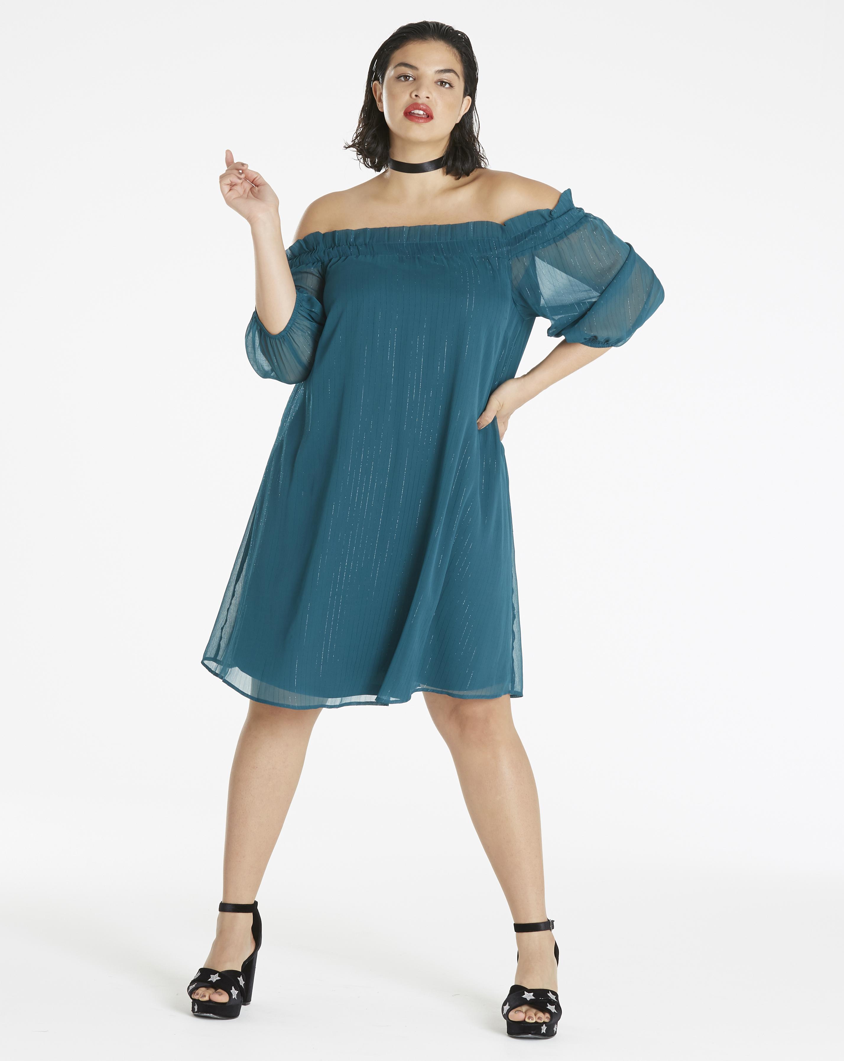 New-Simply-Be-Womens-Metallic-Stripe-Bardot-Dress