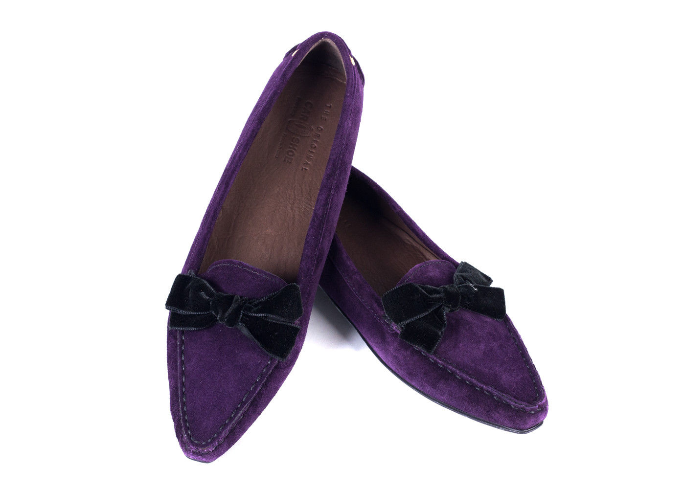 4fb96f450a1 CAR SHOE WOMENS Purple Velvet Bow Suede Pointed Driver Shoes Sz  40/10~RTL$425