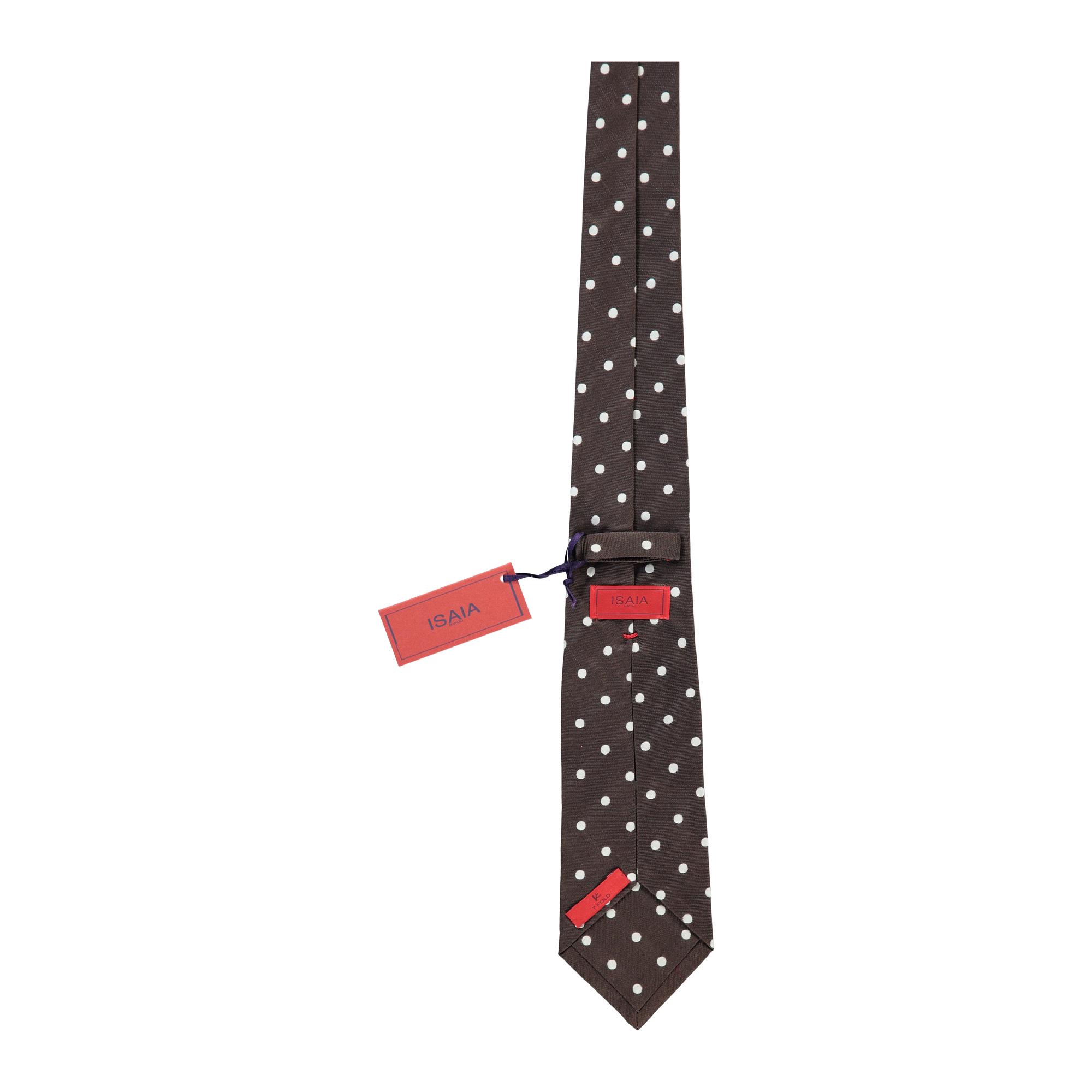 Isaia Napoli Mens Dark Brown Blue Geometric Silk Handmade 7 Fold Tie~RTL$275