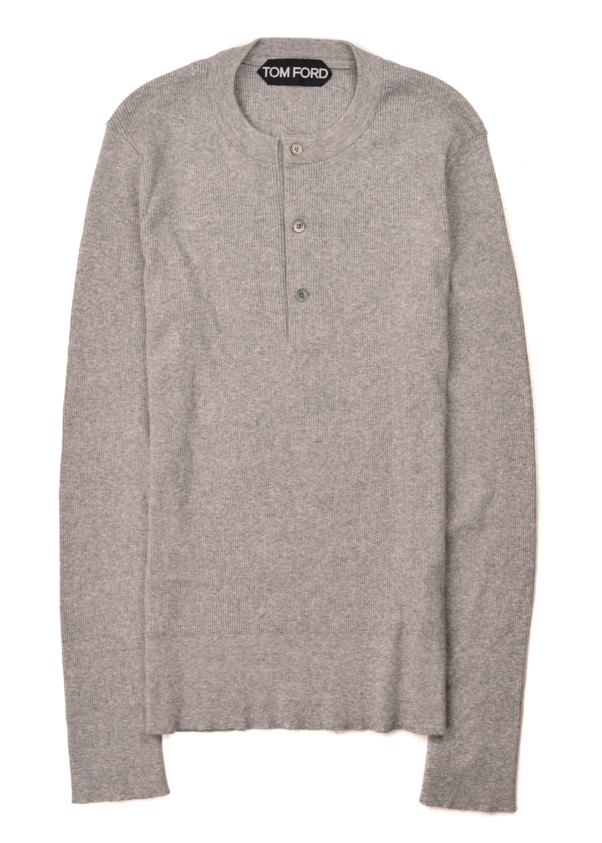 f568abc73fd9e Details about Tom Ford Mens Grey Cotton Henley Ribbed Button Sweater Size  IT46/US S~RTL$1250