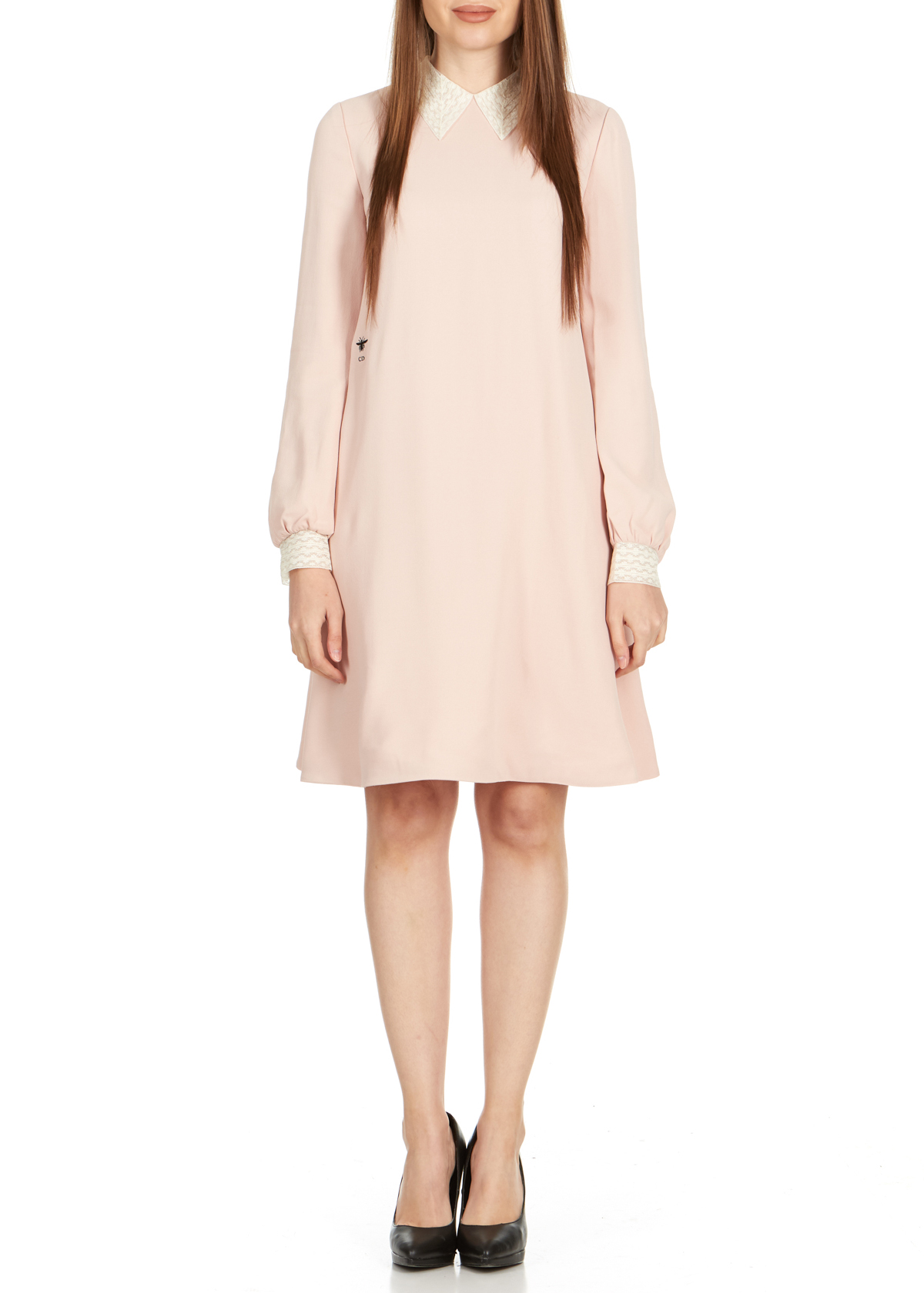 Details About Dior Womens Pink Lace Collar Long Sleeve Dress Size Fr40us8rtl4240