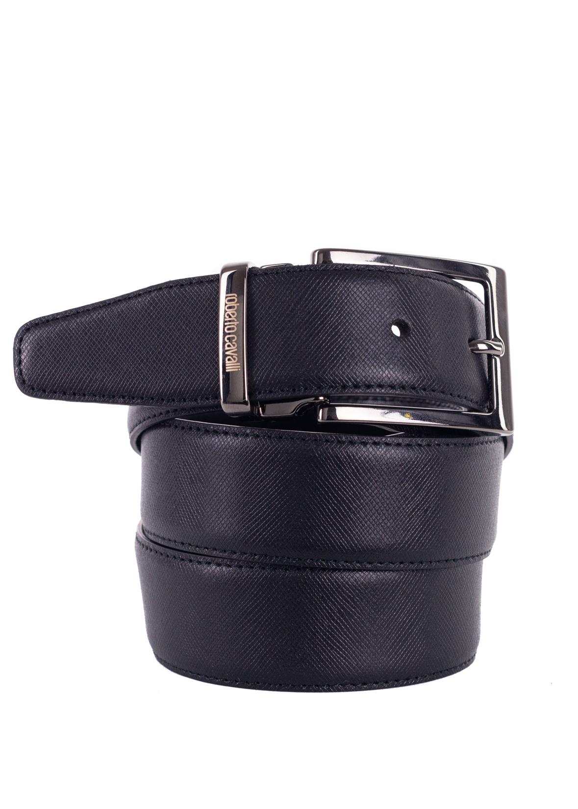 Roberto Cavalli Mens Black Grained Leather Square Buckle Belts Sz44~RTL$325
