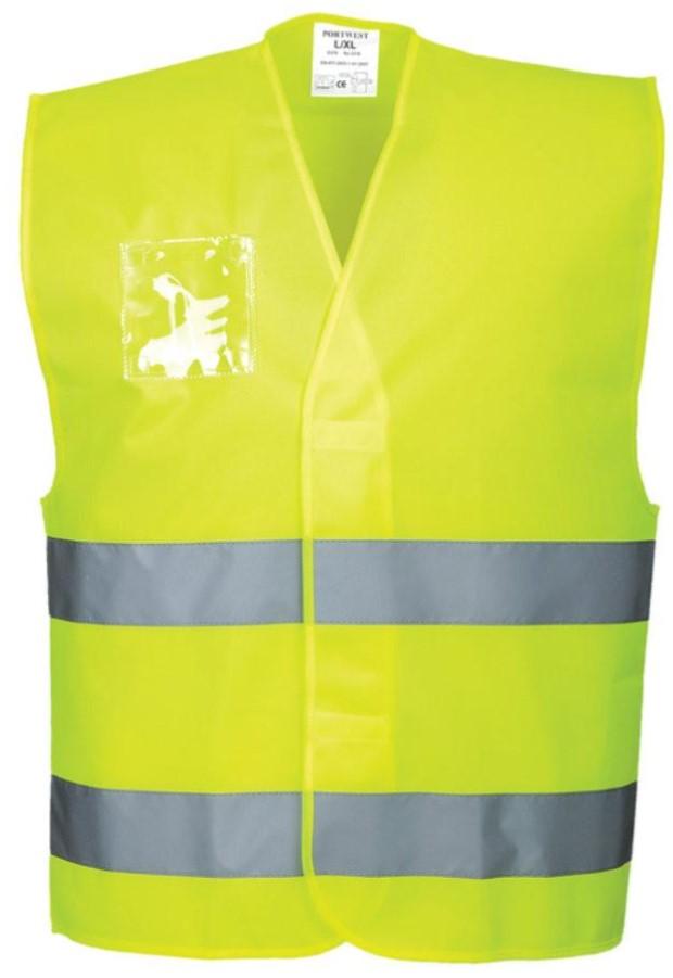 PORTWEST C475 orange or yellow hi-vis dual ID holder vest size S//M-XXL//3XL