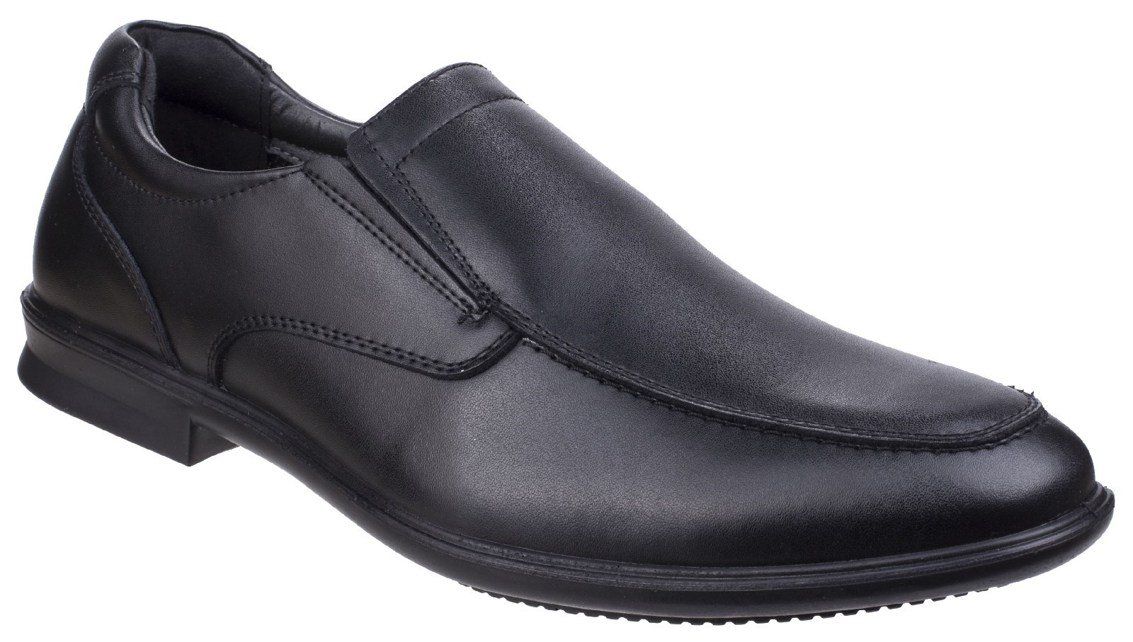 HUSH PUPPIES Cale black slip on leather loafer smart shoes size 6-12