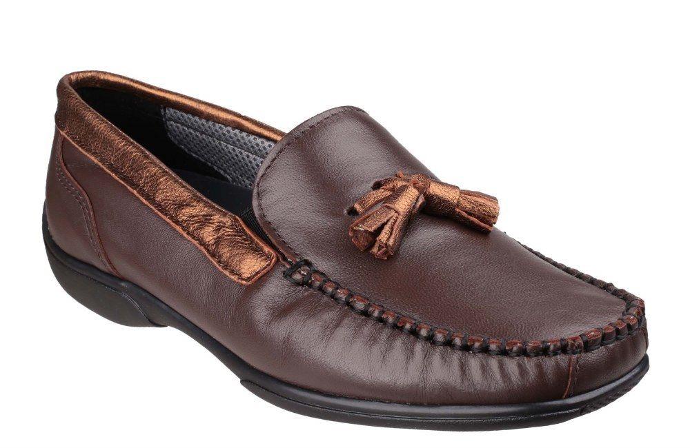 Cotswold Biddlestone Braun bronze ladies on slip on ladies moccasin shoe Größe 36-42 9088f4