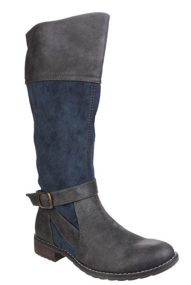 Divaz Garbo navy and Grau ladies two-tone long leg dress boot shoe Größe 36-41
