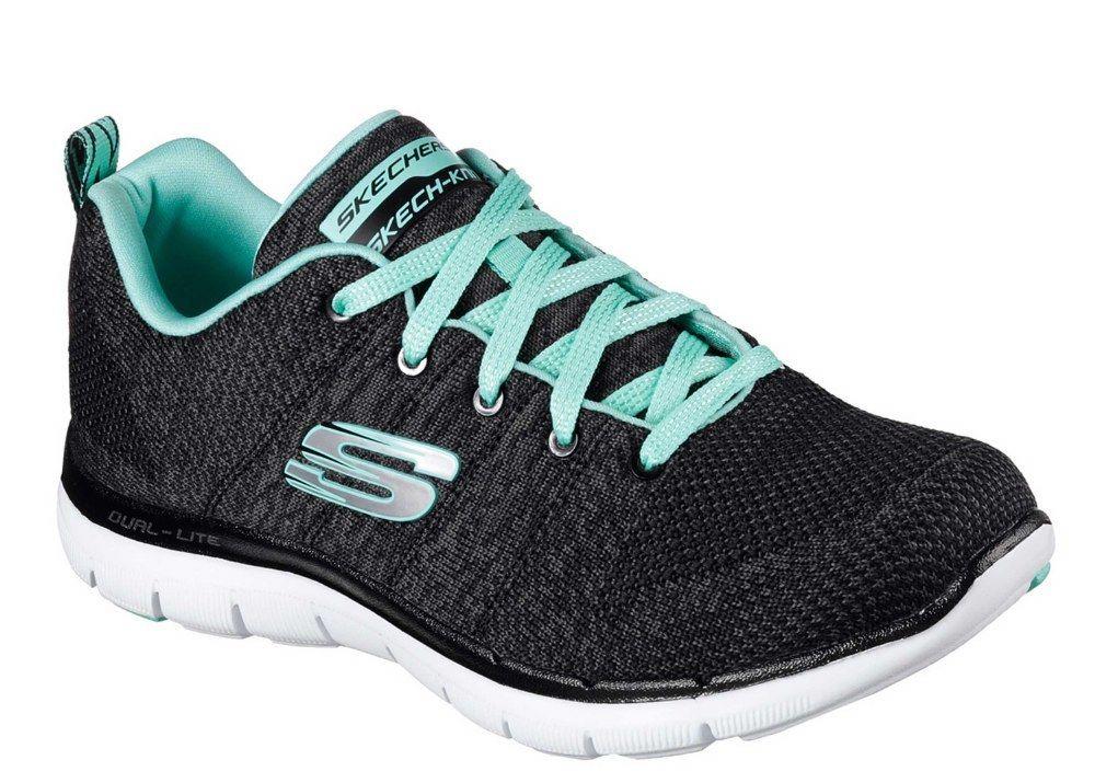 Skechers Flex Appeal Appeal Appeal SK12756 2.0 negro de alta energía Aqua entrenador señoras 6db106