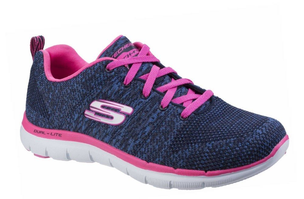 Skechers High SK12756 Flex Appeal 2.0 High Skechers Energy navy pink ladies Sports trainer 3-8 0ddd71