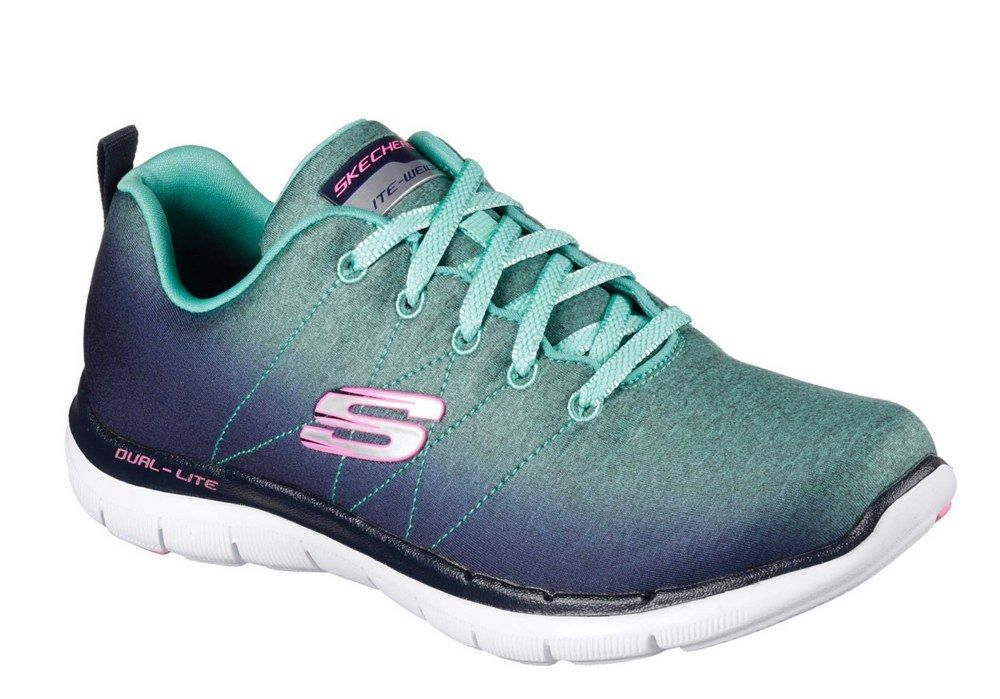 Skechers SK12763 Flex Appeal 2.0 Bright Side navy aqua ladies Sports ladies aqua trainer 3-8 99e091