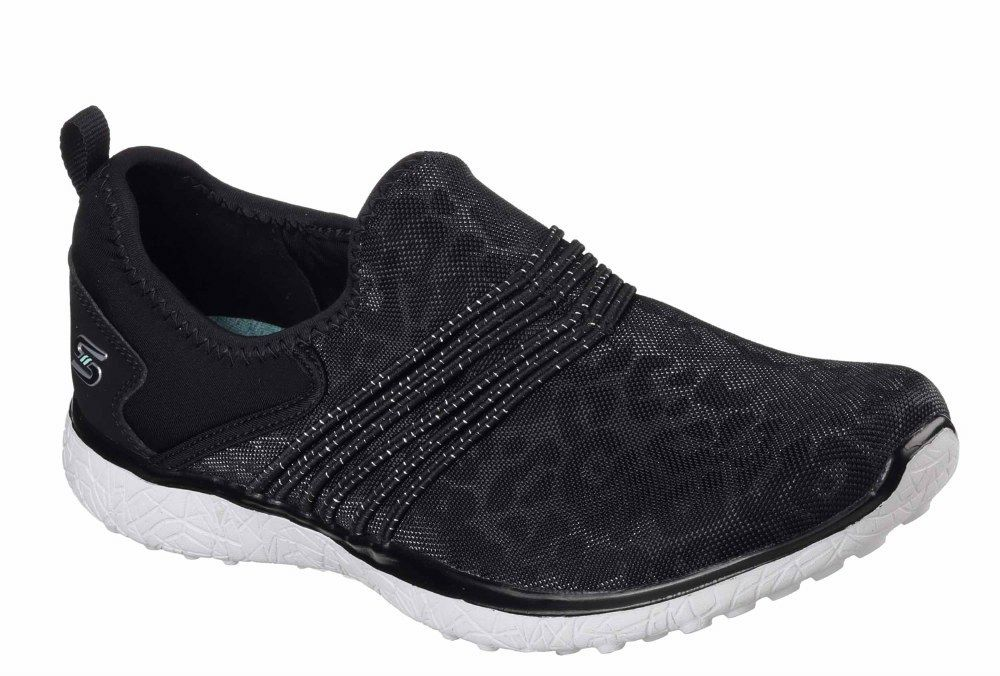 Skechers SK23322 Microburst Wraps Under Wraps Microburst schwarz Wei  ladies slip on trainer 3-8 0345ae