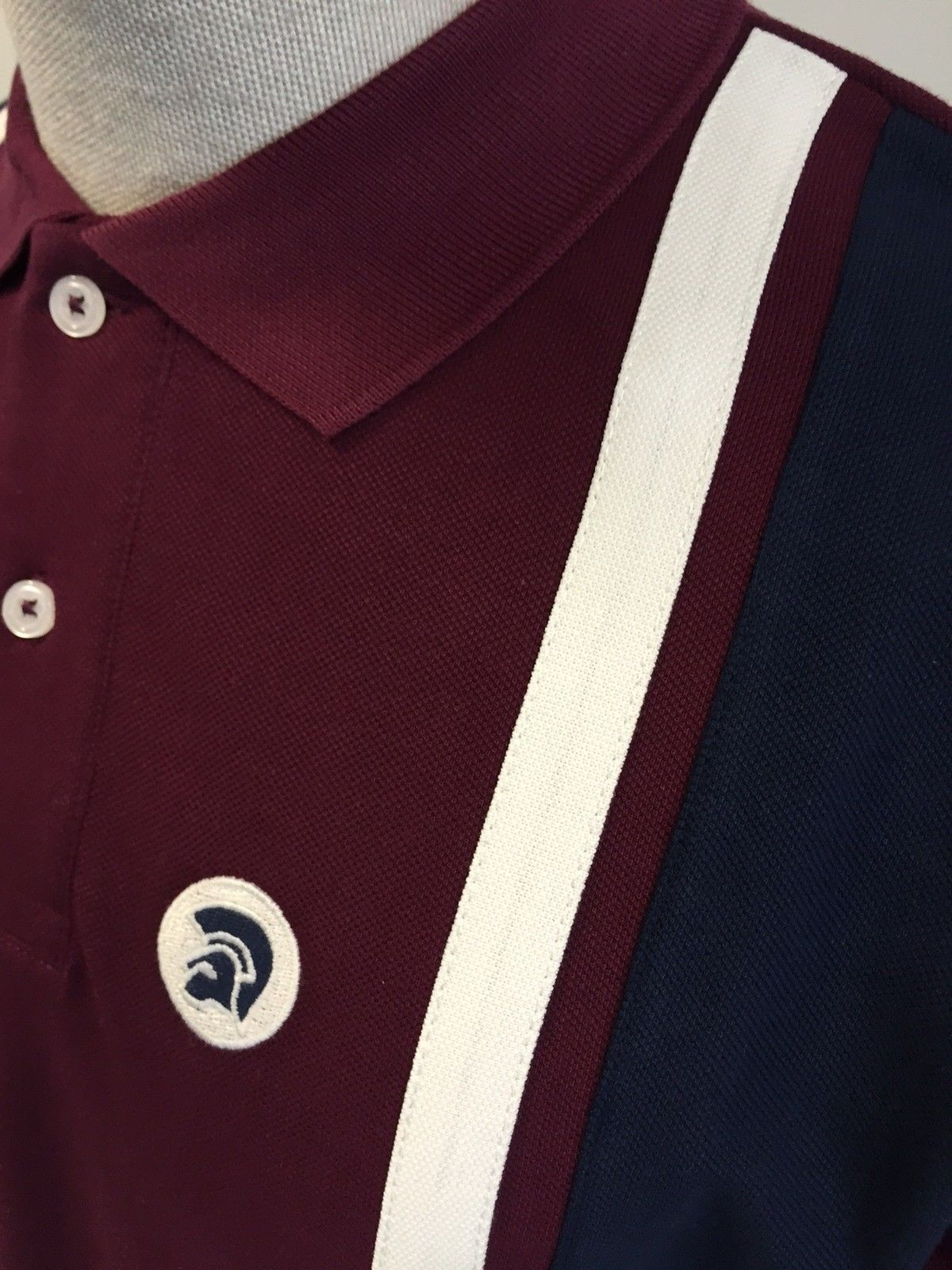 Trojan-TR-8183-maroon-short-sleeve-stripe-front-pique-polo-shirt-size-small-3XL thumbnail 5