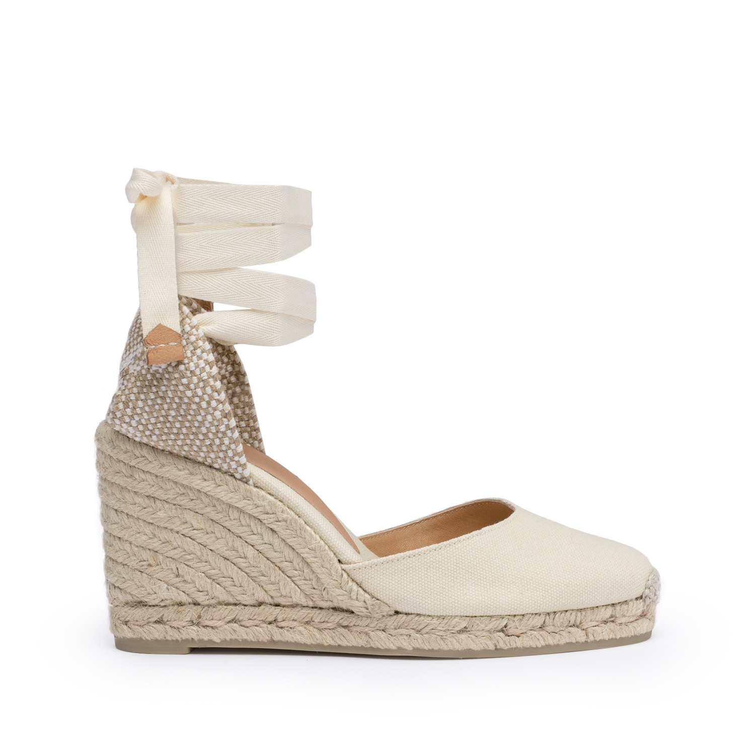 32013ff18e49 Castaner Women s Carina Canvas Wedge Espadrille Shoes 8CM Ivory 35
