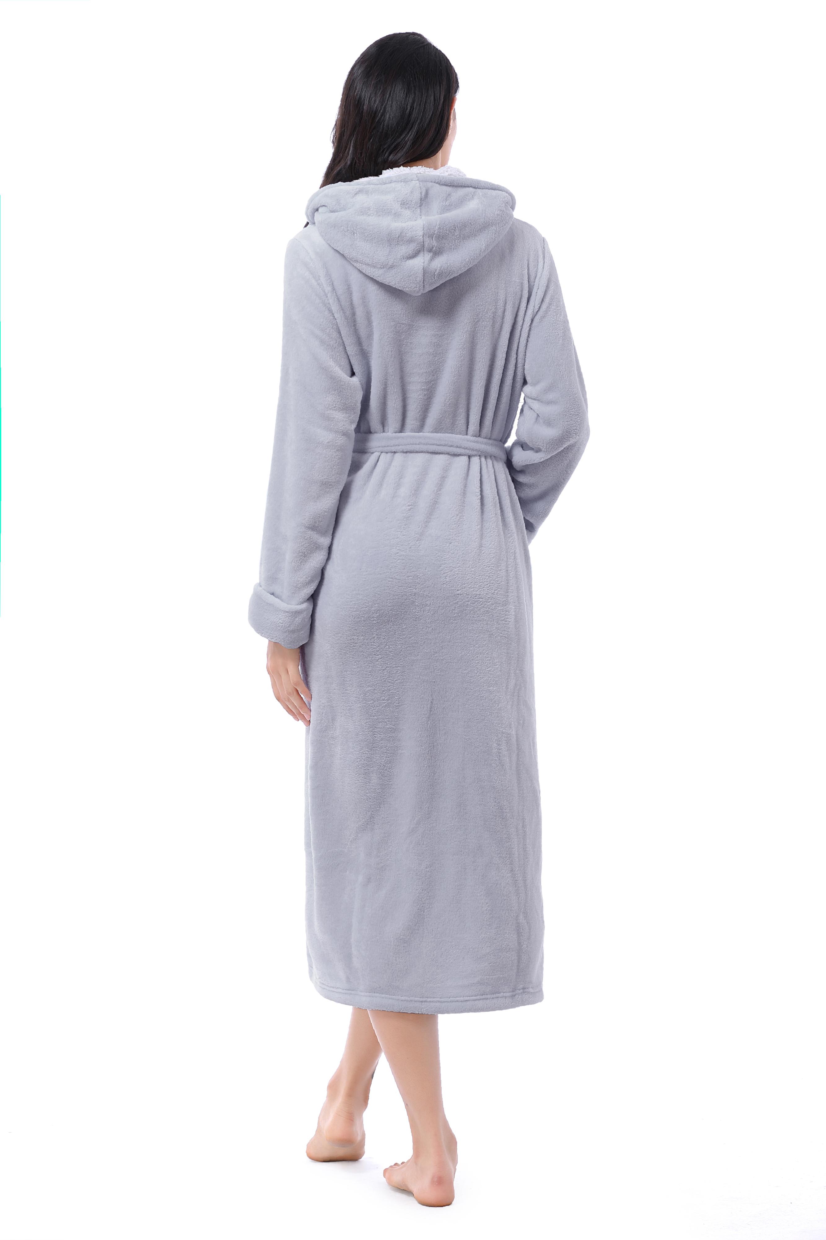 Hooded Sherpa Robe Long Plush Fuzzy Bathrobe For Women With Hood Sherpa Lined Ebay