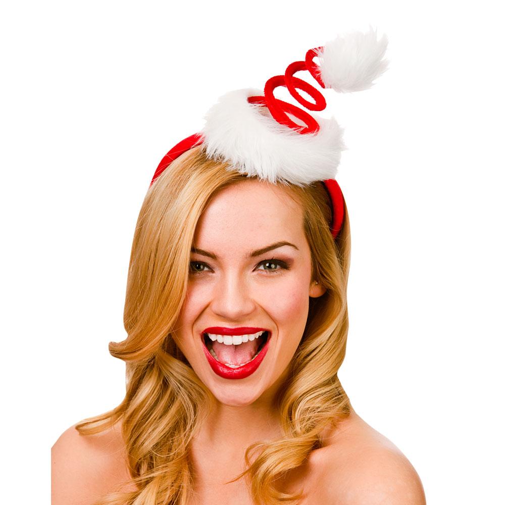 Temperato Gli Adulti A Spirale Babbo Natale Cappello Su Fascia-adulto Per Babbo Natale Costume-
