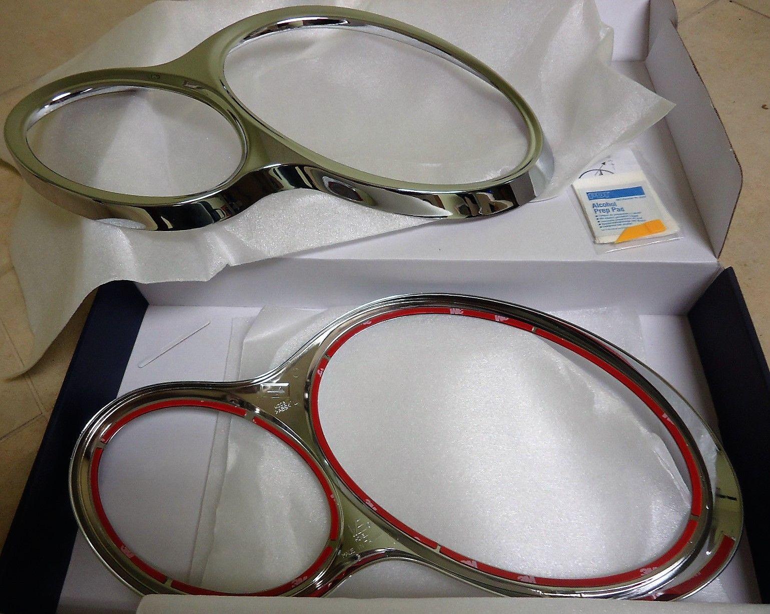 2000-2007 MERCEDES  W203 SEDAN CHROME HEAD LAMP RIM RINGS SET 2002-2003-04-05-06