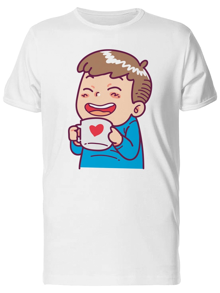 Drinking Warm Cup Cartoon Tee Men's -Image by Shutterstock ZT64SA1KRNUVZTS5