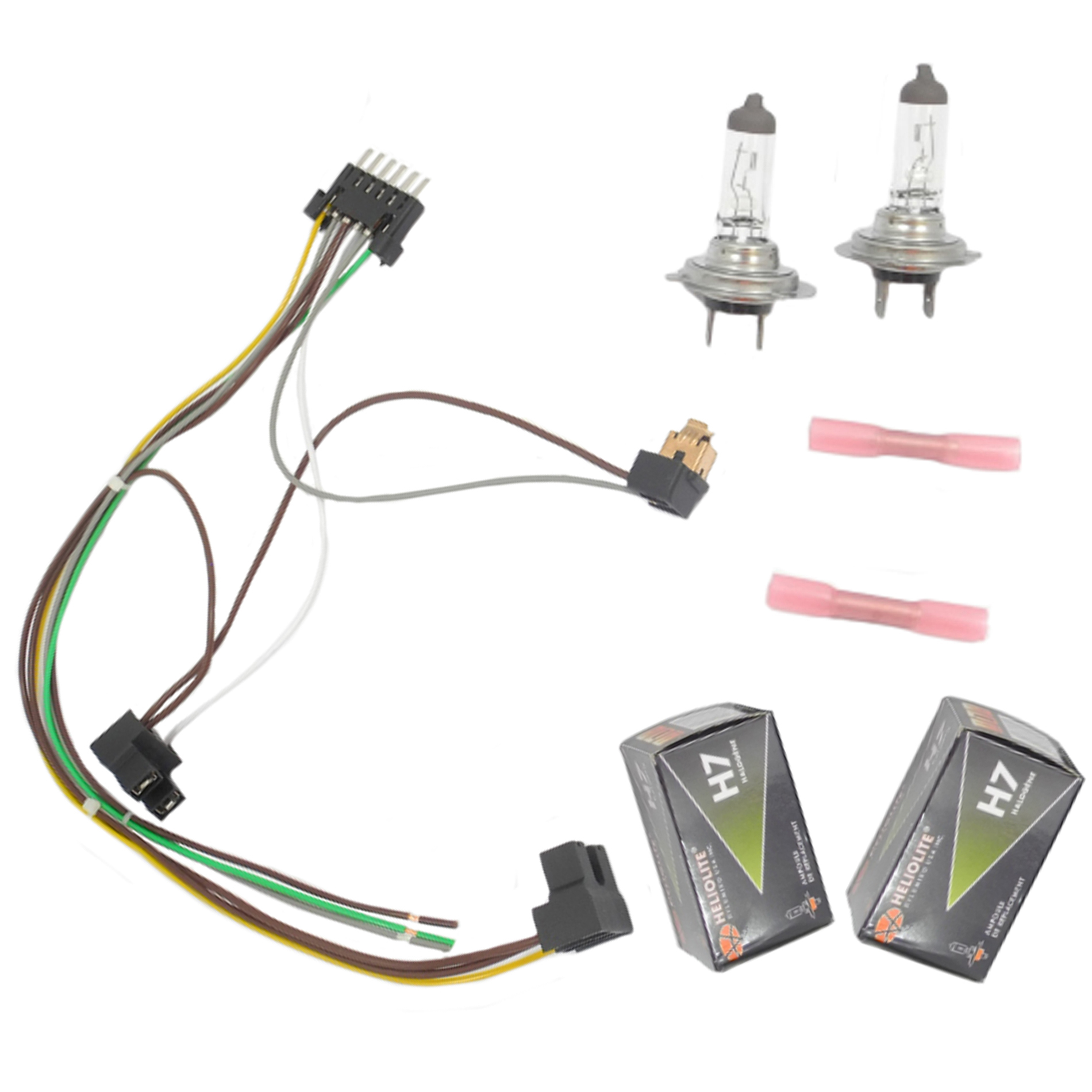 Details about Left / Right Headlight Wiring Harness & H7 55W Headlight on