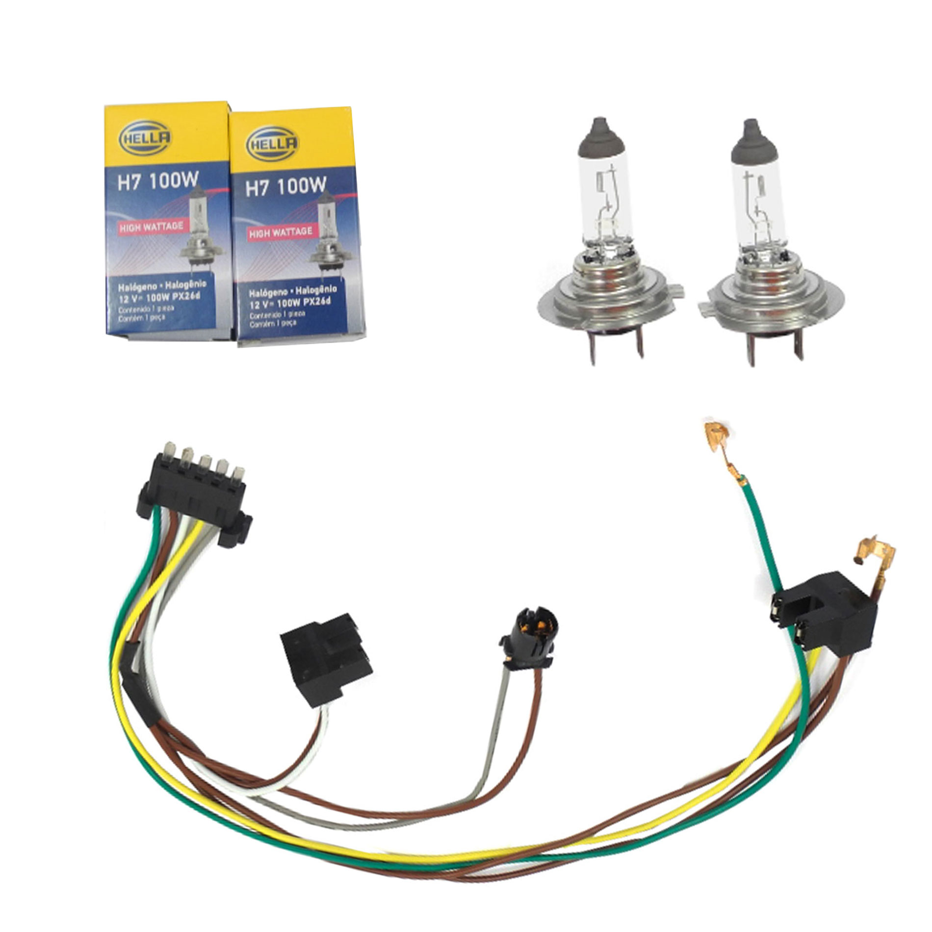 Details about L /R Headlight Wiring Harness & Headlight Bulb H7 100W on