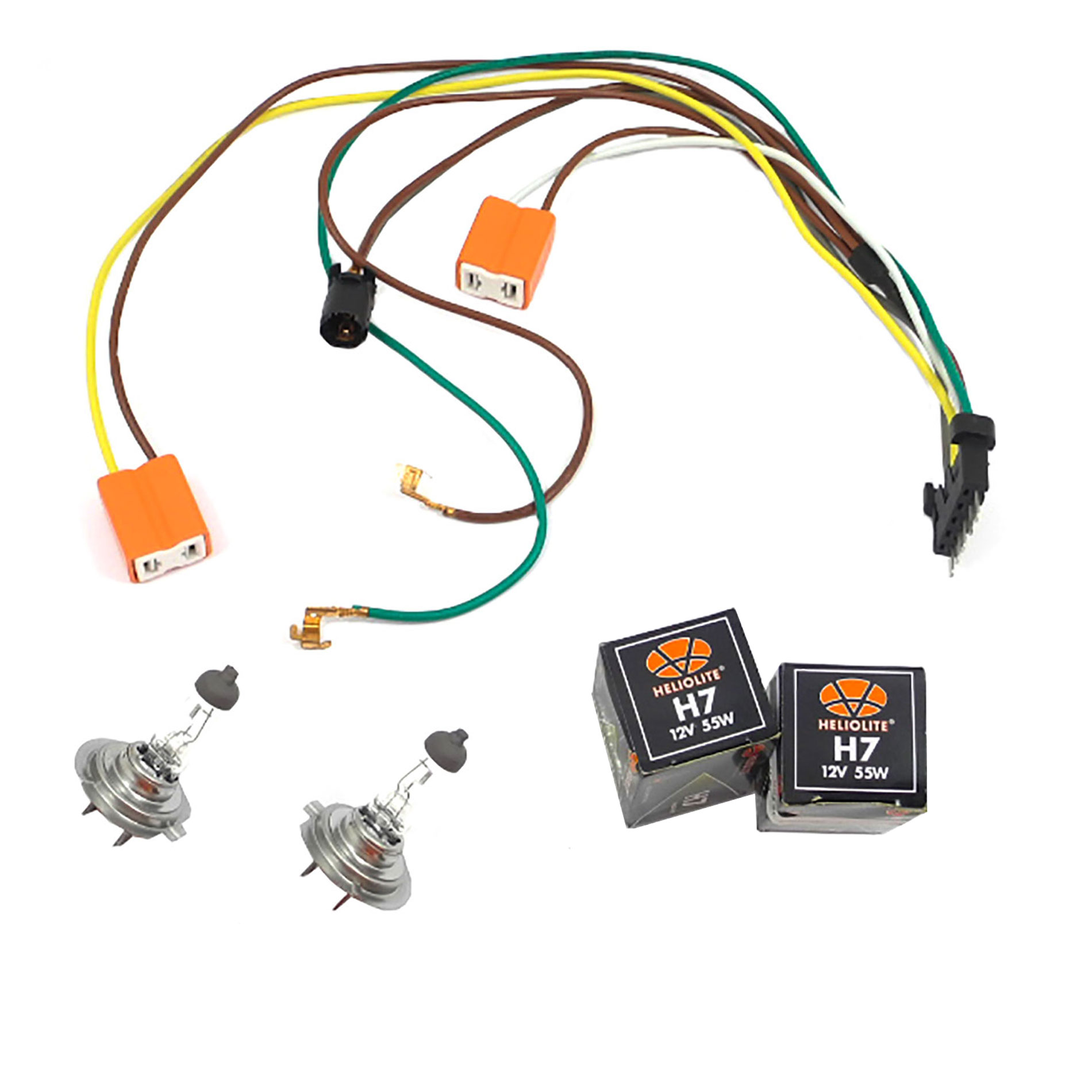 Details about L / R Headlight Wiring Harness & Headlight Bulb H7 55W on