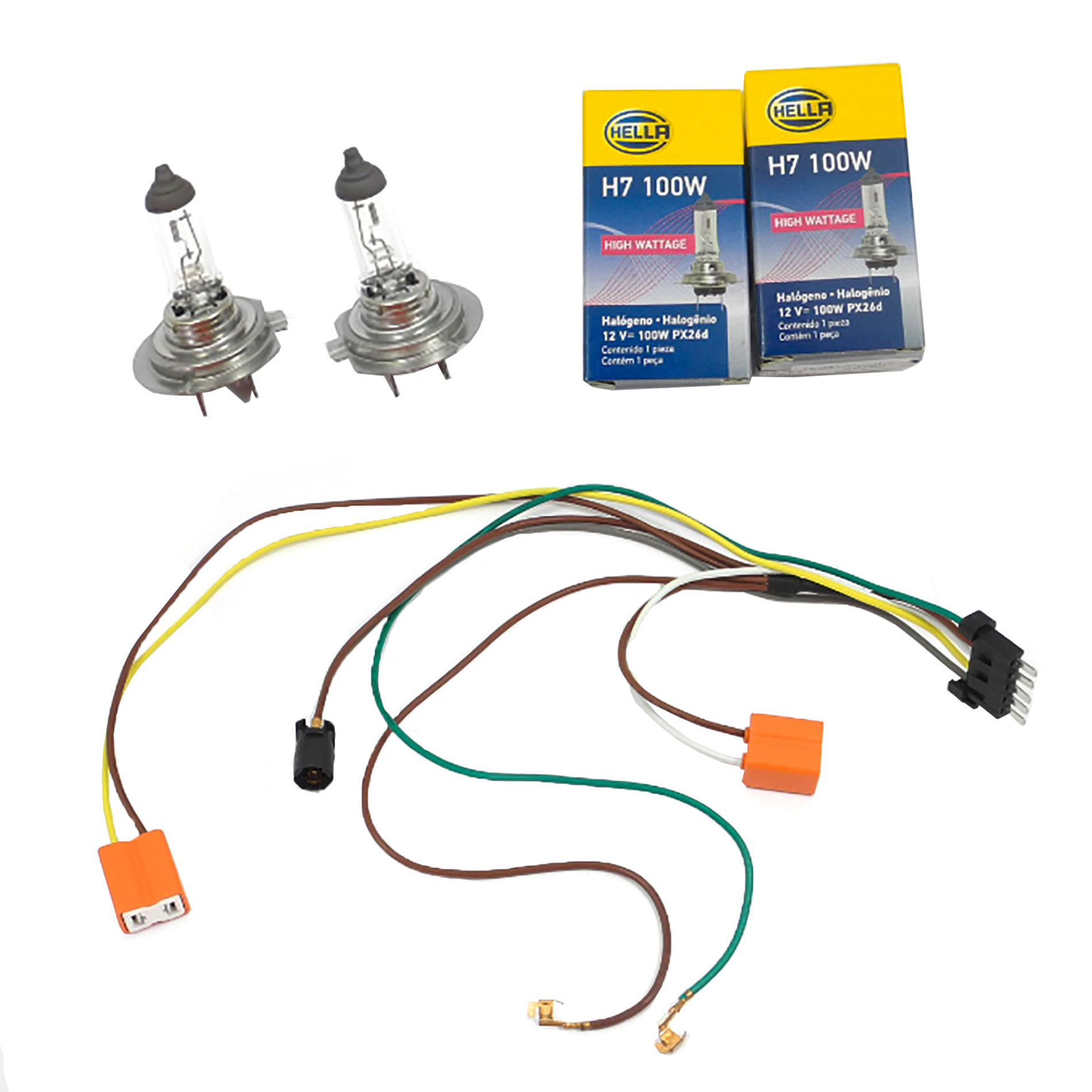 Right Headlight Wiring Harness /& H7 100W Headlight Bulb For Benz S55 S600 Left