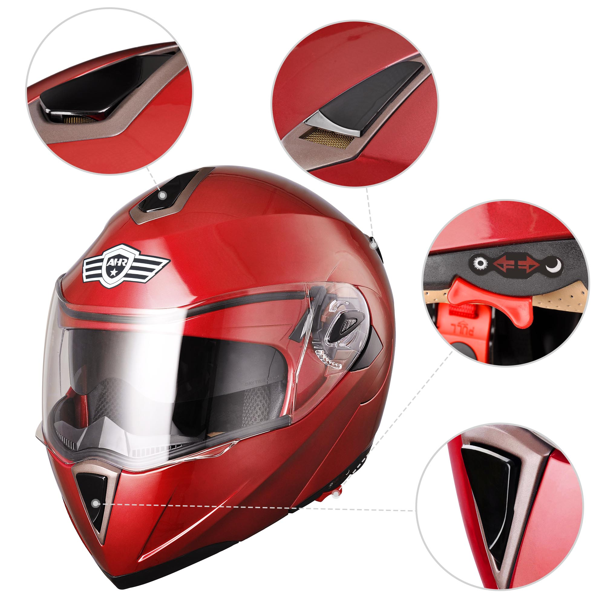 miniature 59 - DOT Flip up Modular Full Face Motorcycle Helmet Dual Visor Motocross Size Opt