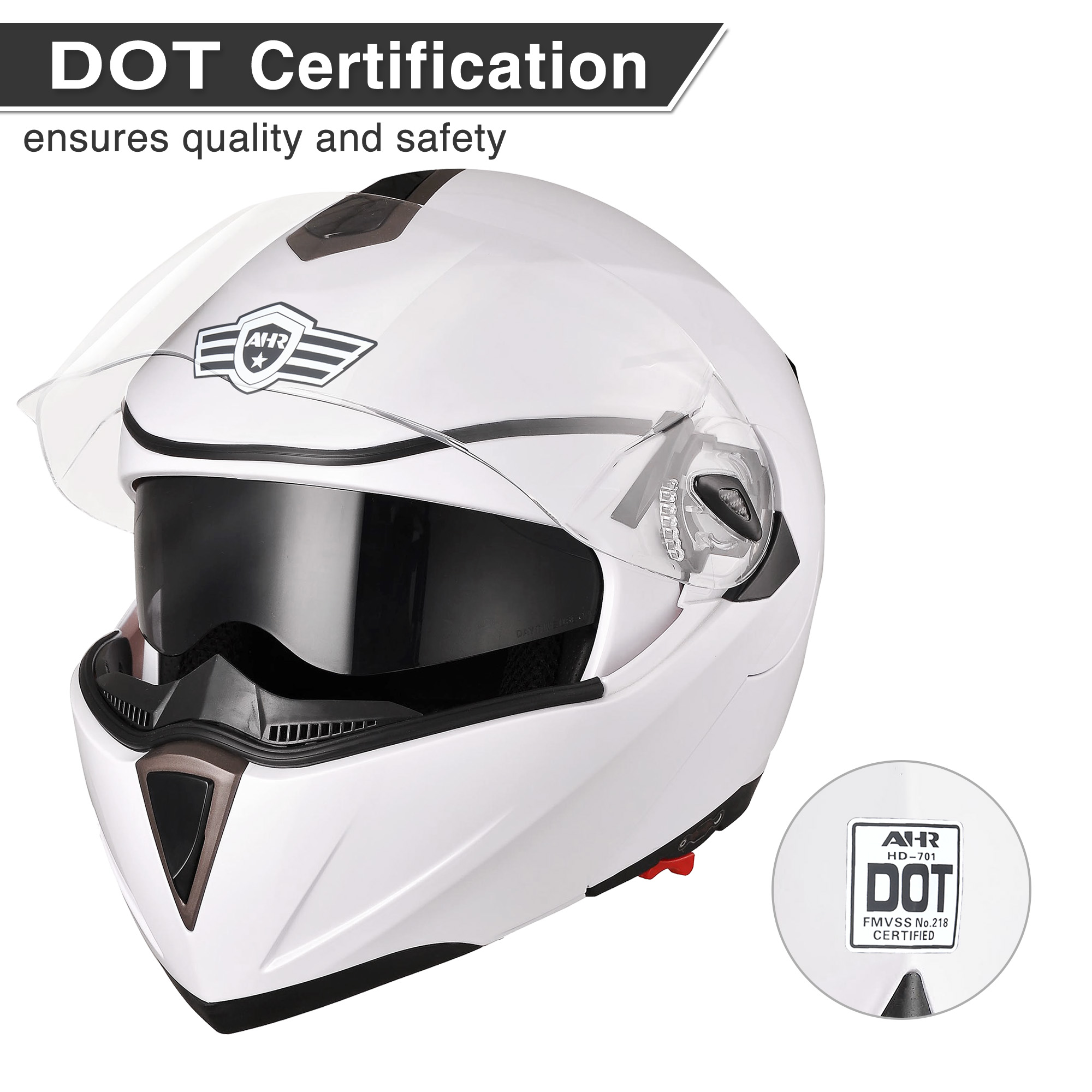 miniature 62 - DOT Flip up Modular Full Face Motorcycle Helmet Dual Visor Motocross Size Opt