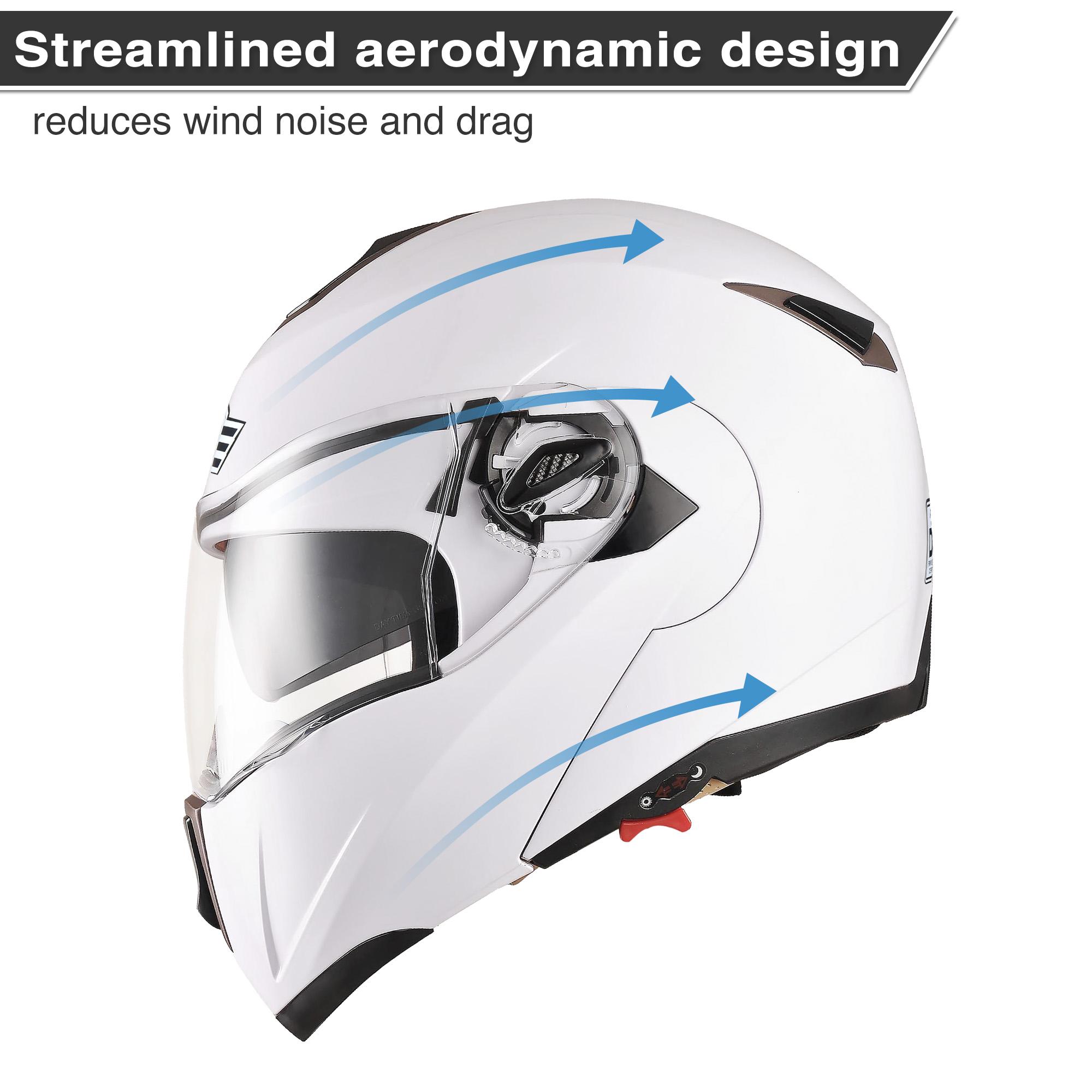 miniature 63 - DOT Flip up Modular Full Face Motorcycle Helmet Dual Visor Motocross Size Opt