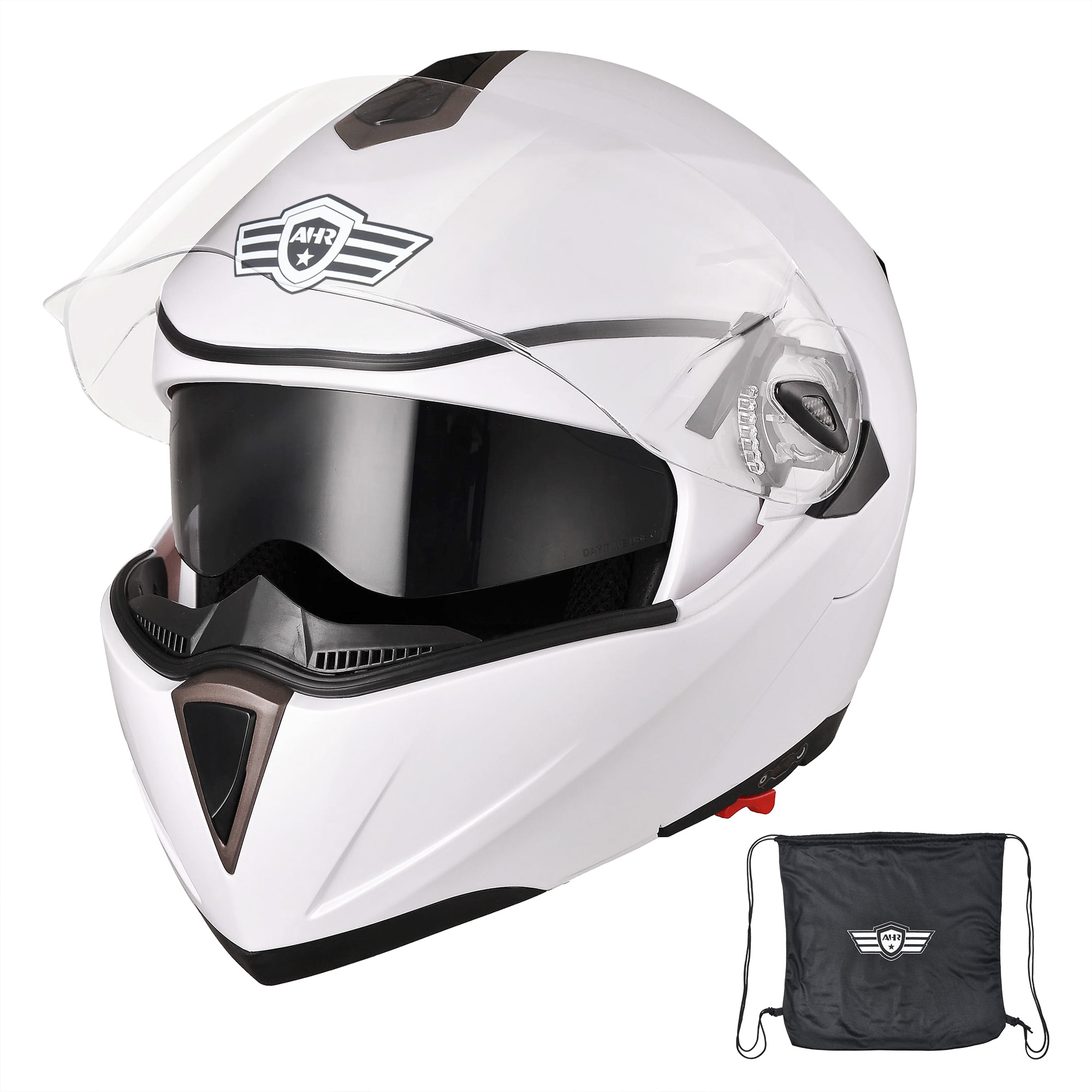 miniature 68 - DOT Flip up Modular Full Face Motorcycle Helmet Dual Visor Motocross Size Opt