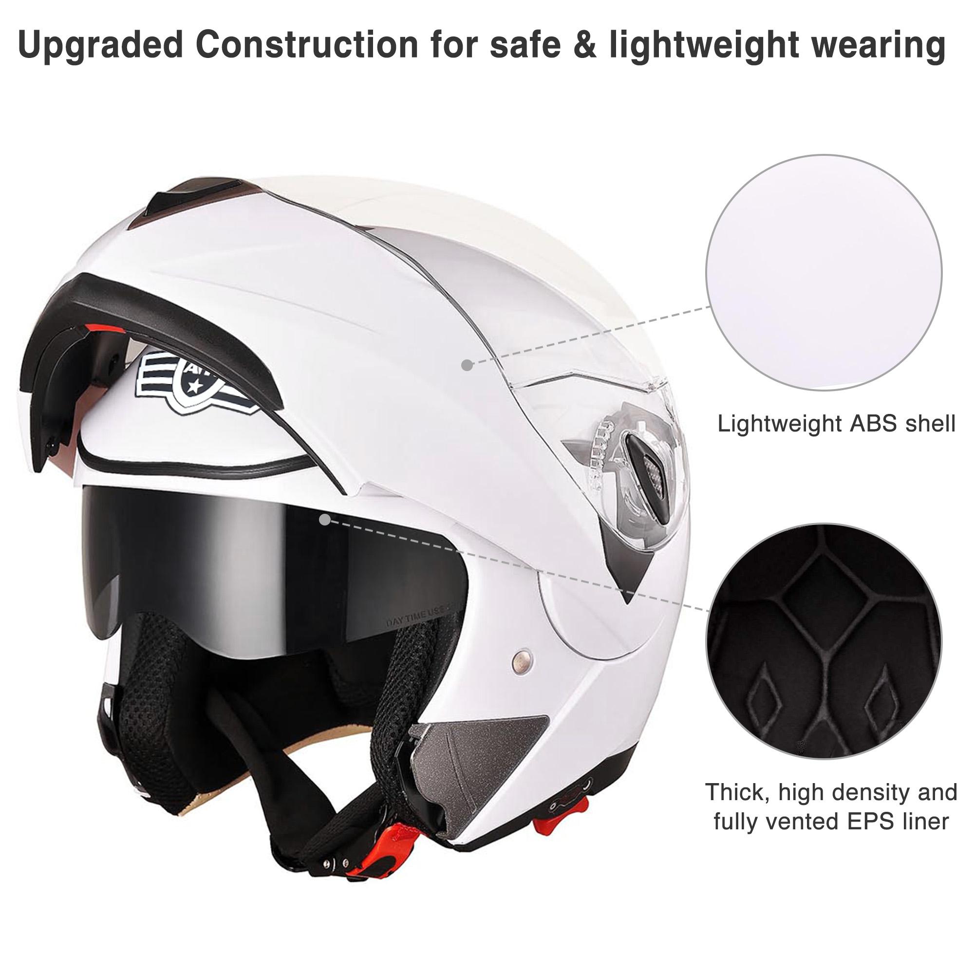 miniature 122 - DOT Flip up Modular Full Face Motorcycle Helmet Dual Visor Motocross Size Opt