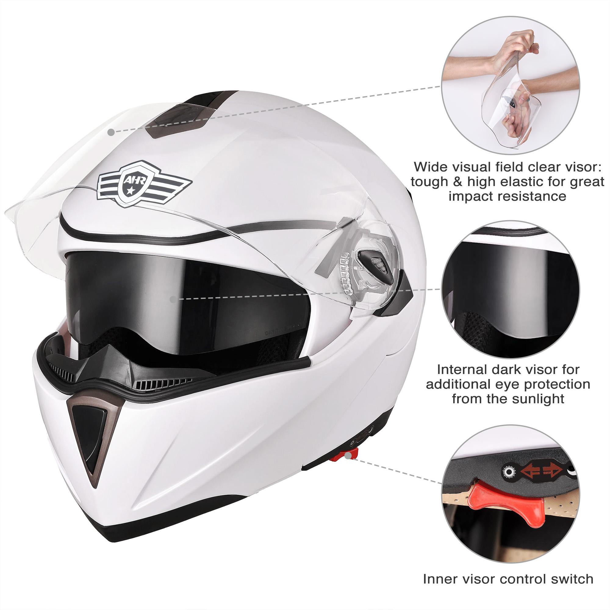 miniature 124 - DOT Flip up Modular Full Face Motorcycle Helmet Dual Visor Motocross Size Opt
