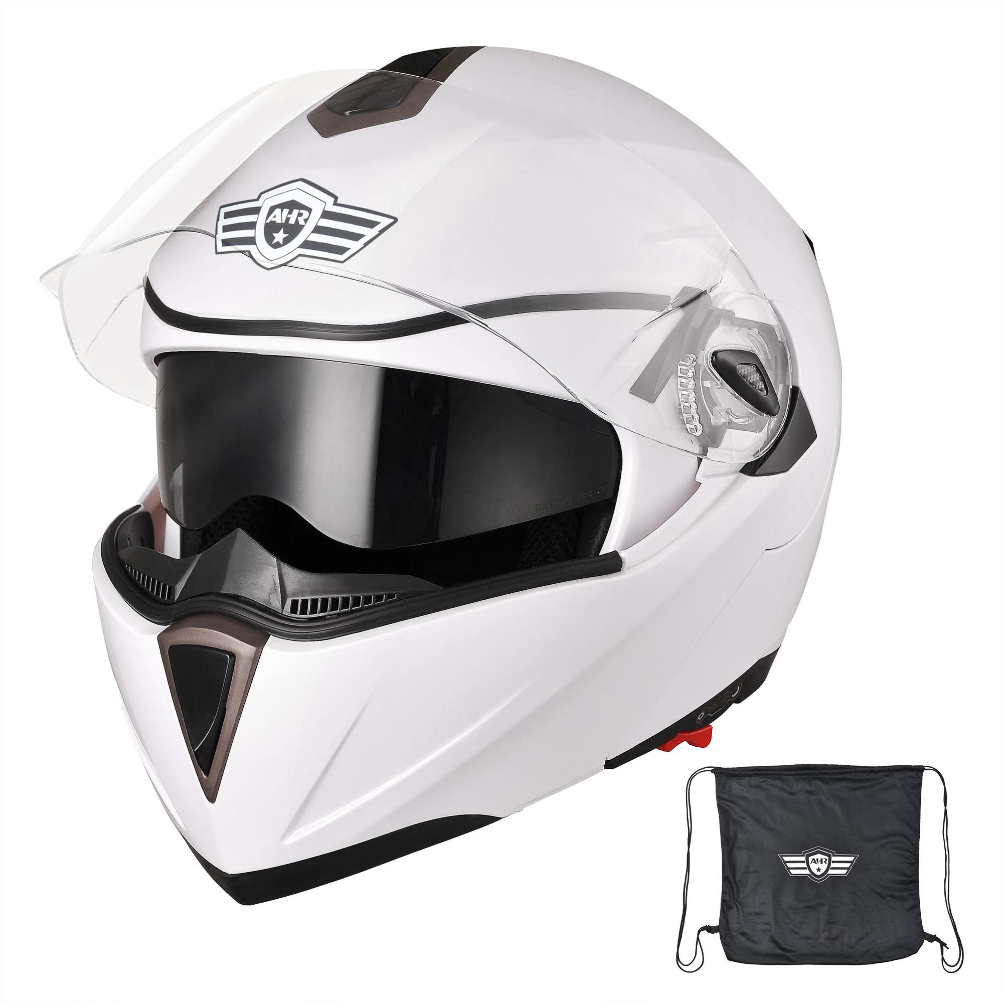 miniature 126 - DOT Flip up Modular Full Face Motorcycle Helmet Dual Visor Motocross Size Opt