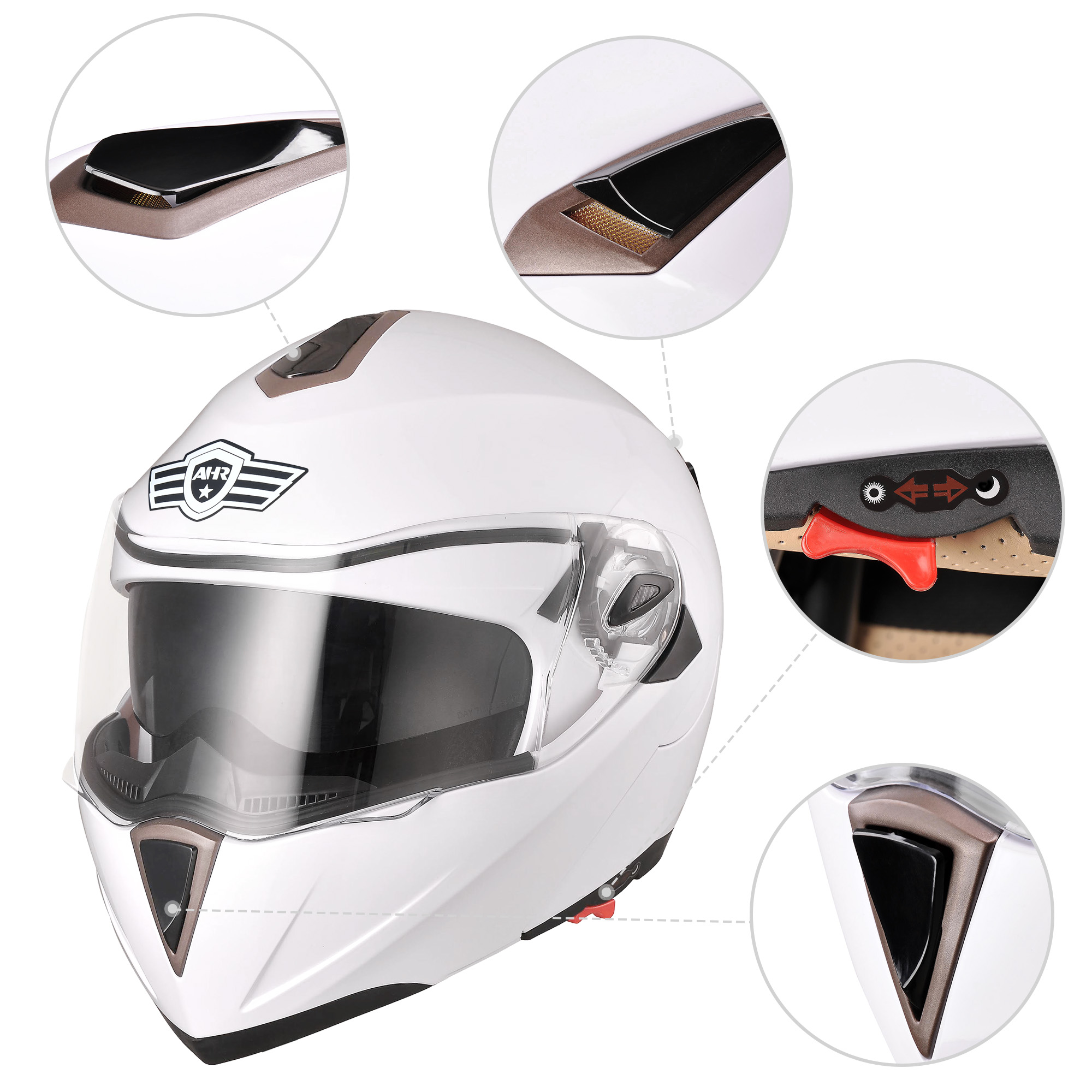 miniature 128 - DOT Flip up Modular Full Face Motorcycle Helmet Dual Visor Motocross Size Opt