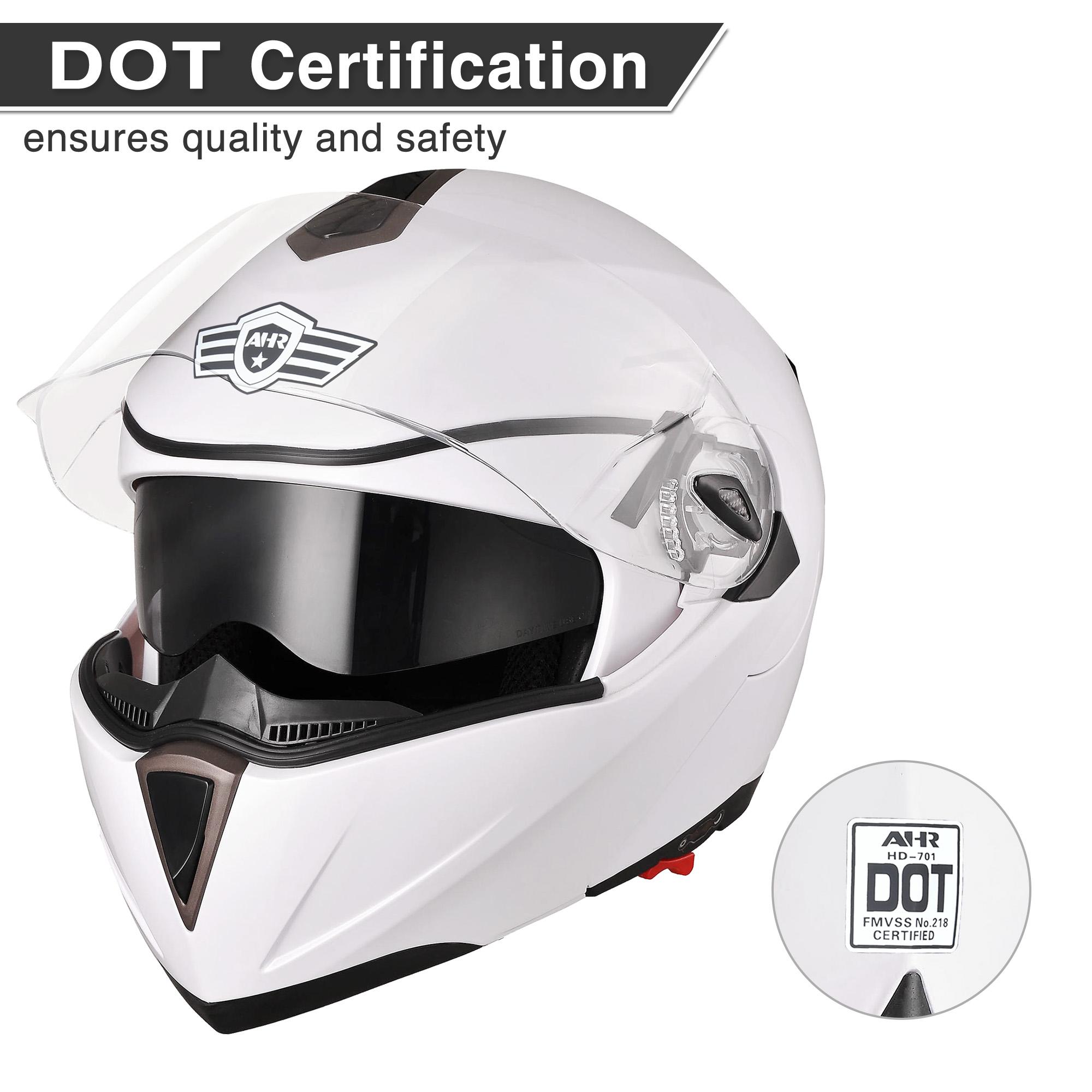 miniature 182 - DOT Flip up Modular Full Face Motorcycle Helmet Dual Visor Motocross Size Opt