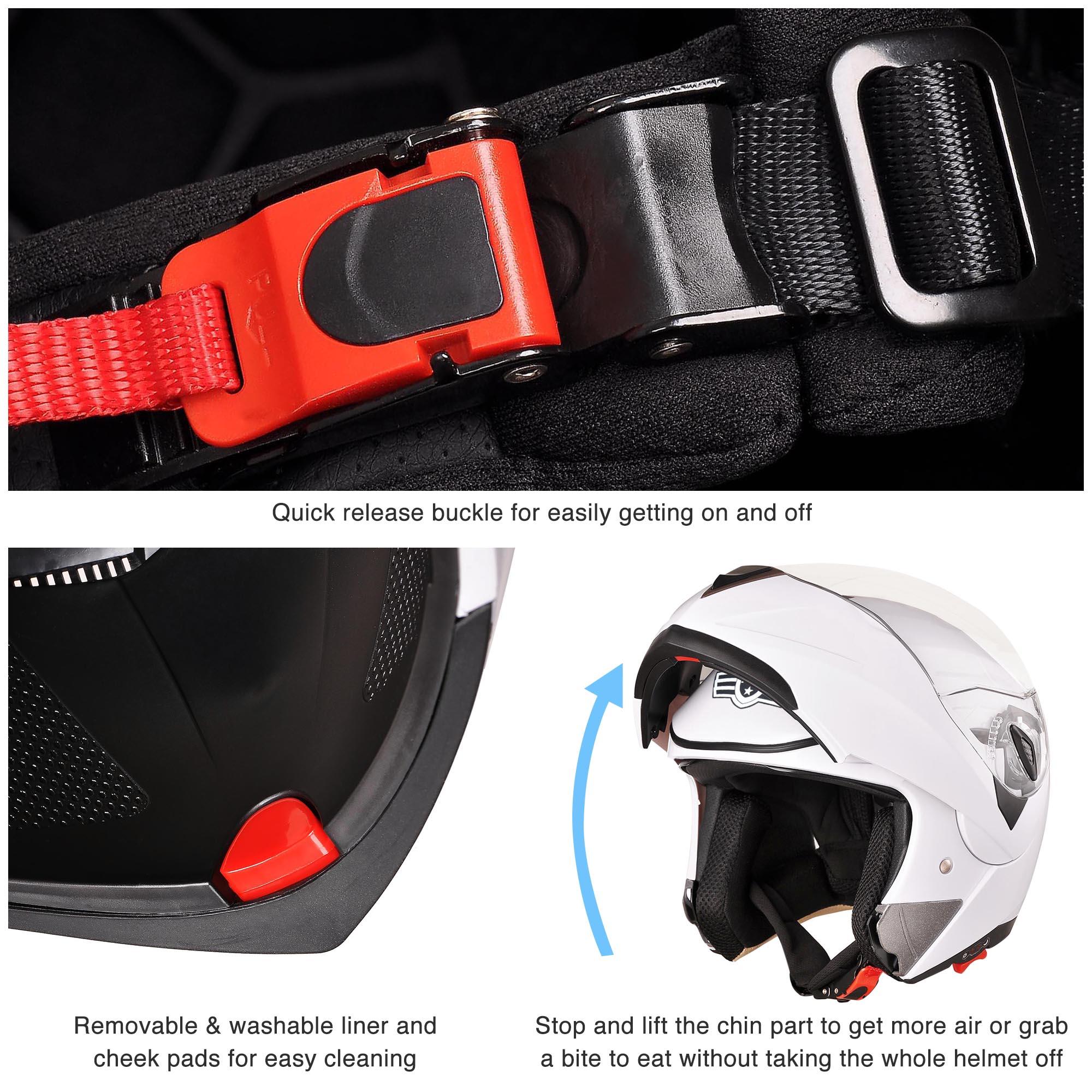 miniature 180 - DOT Flip up Modular Full Face Motorcycle Helmet Dual Visor Motocross Size Opt