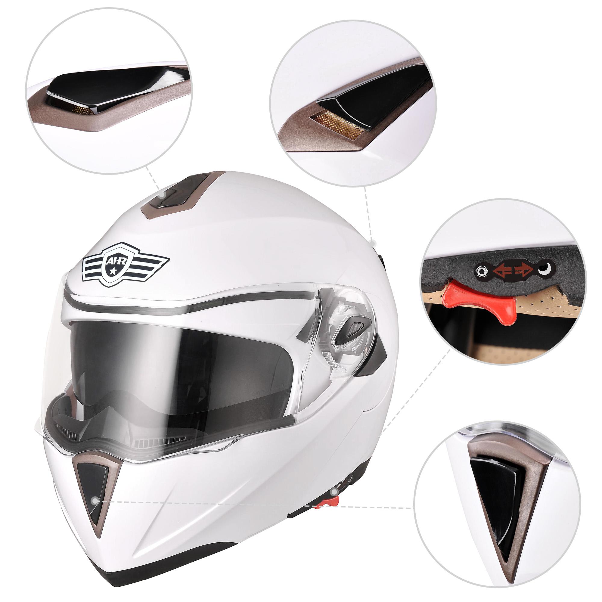 miniature 184 - DOT Flip up Modular Full Face Motorcycle Helmet Dual Visor Motocross Size Opt