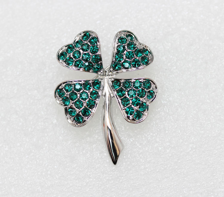 Emerald-Color-Green-Crystal-Shamrock-Clover-Leaf-Pin-Brooch-St-Patricks-Day thumbnail 19
