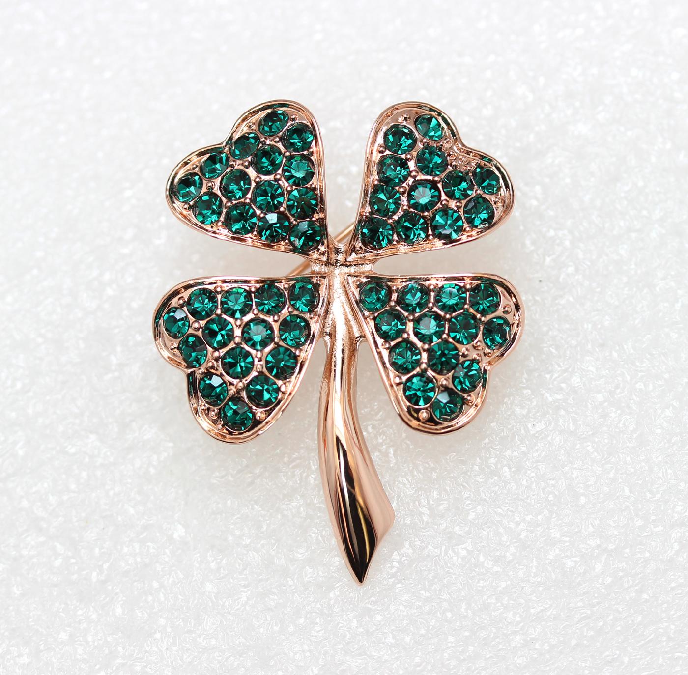 Emerald-Color-Green-Crystal-Shamrock-Clover-Leaf-Pin-Brooch-St-Patricks-Day thumbnail 13