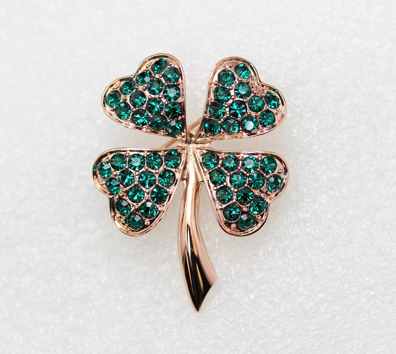 Emerald-Color-Green-Crystal-Shamrock-Clover-Leaf-Pin-Brooch-St-Patricks-Day thumbnail 14