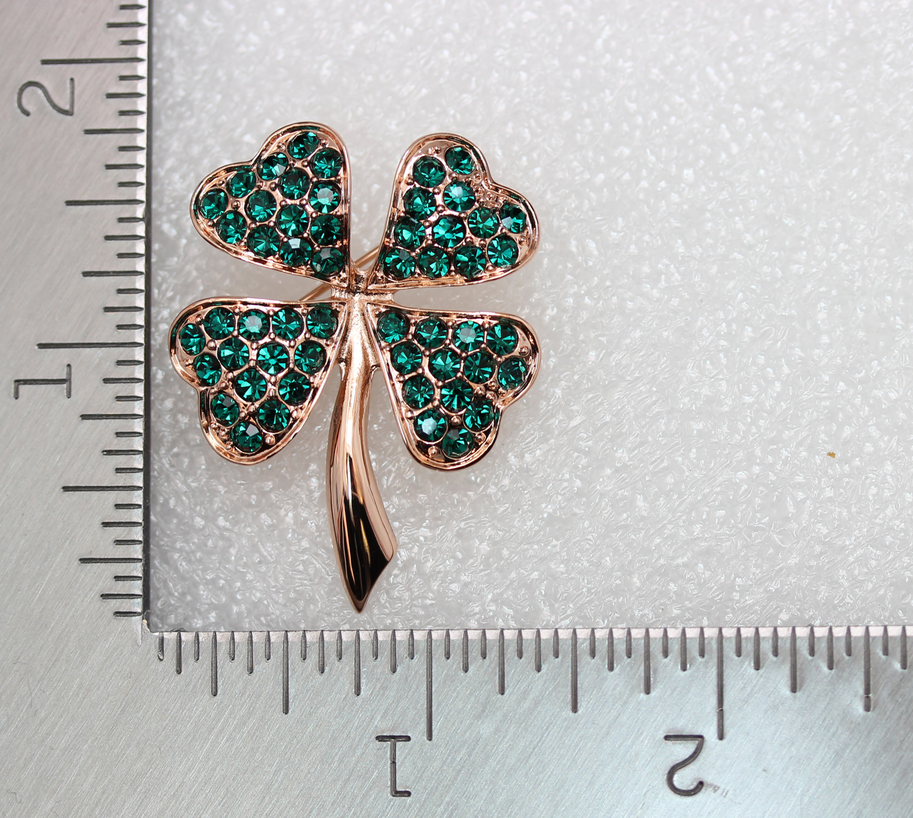 Emerald-Color-Green-Crystal-Shamrock-Clover-Leaf-Pin-Brooch-St-Patricks-Day thumbnail 15