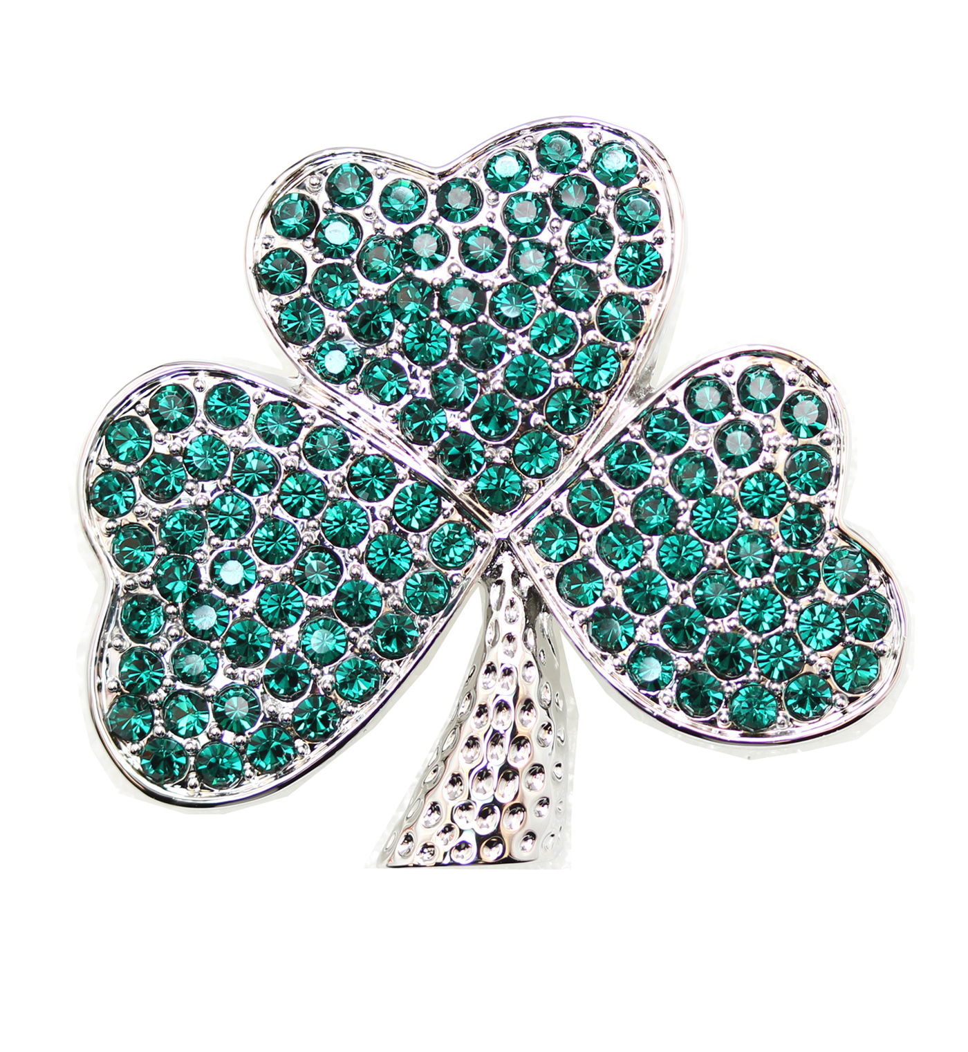 Emerald-Color-Green-Crystal-Shamrock-Clover-Leaf-Pin-Brooch-St-Patricks-Day thumbnail 7