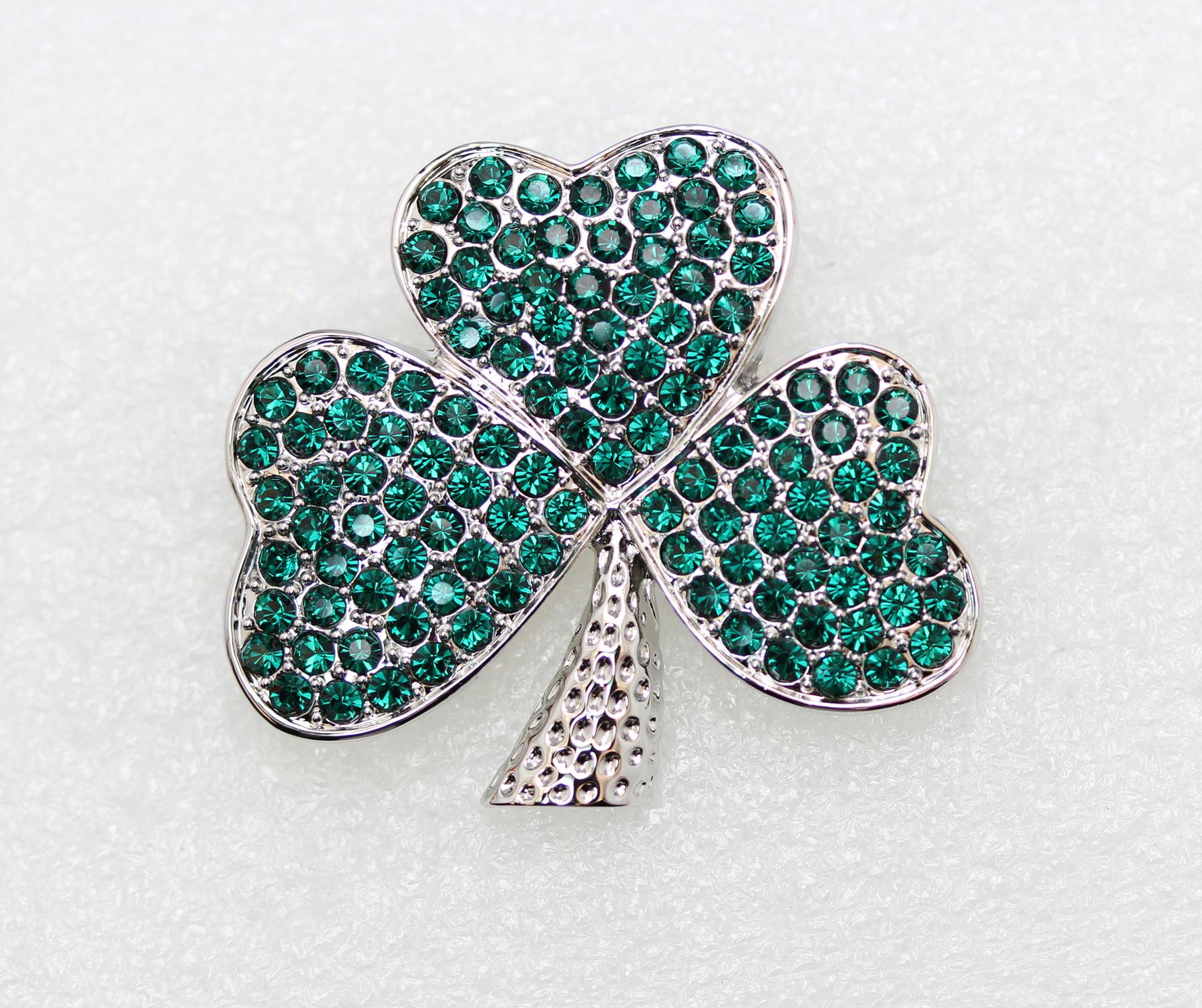 Emerald-Color-Green-Crystal-Shamrock-Clover-Leaf-Pin-Brooch-St-Patricks-Day thumbnail 8